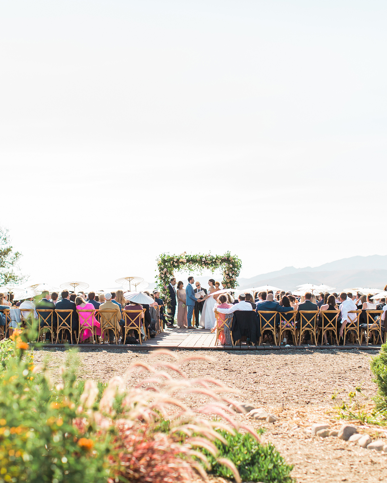 wide open wedding ceremony space with mountain view