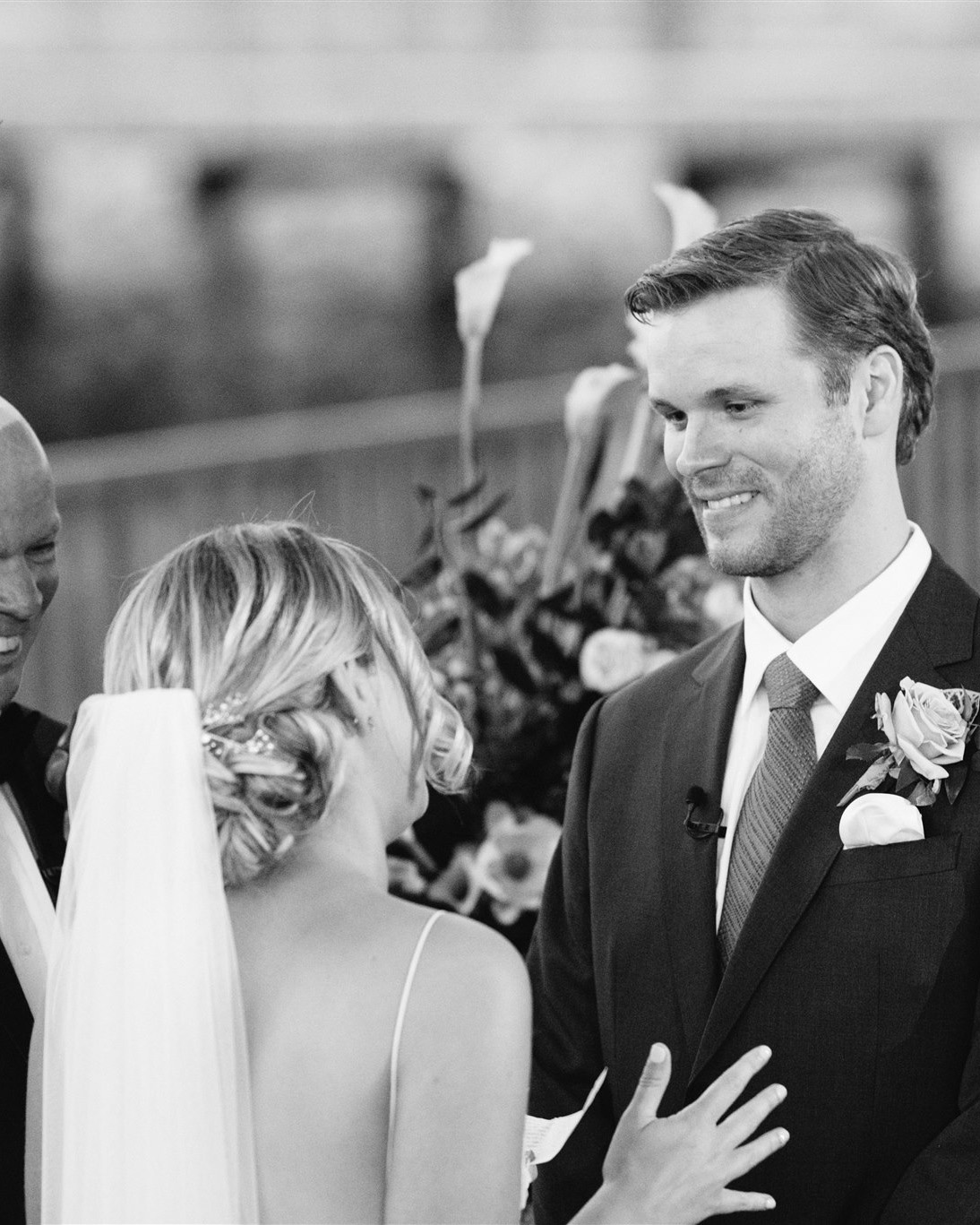 black and white photo brianna saying vows