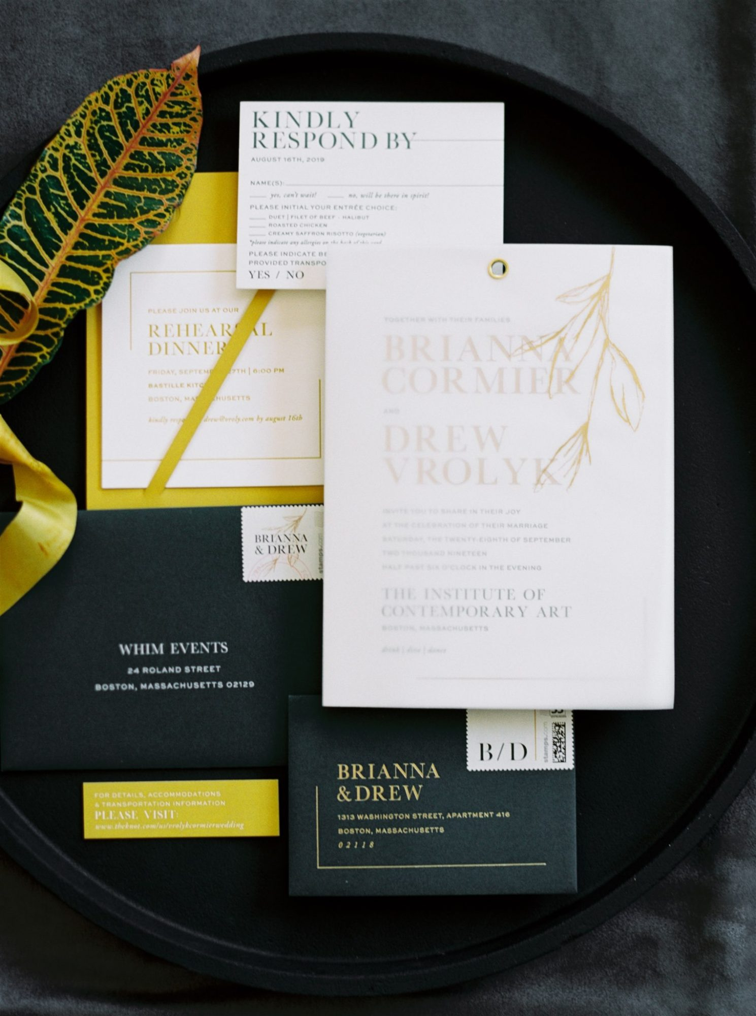 wedding invitation package black white and mustard