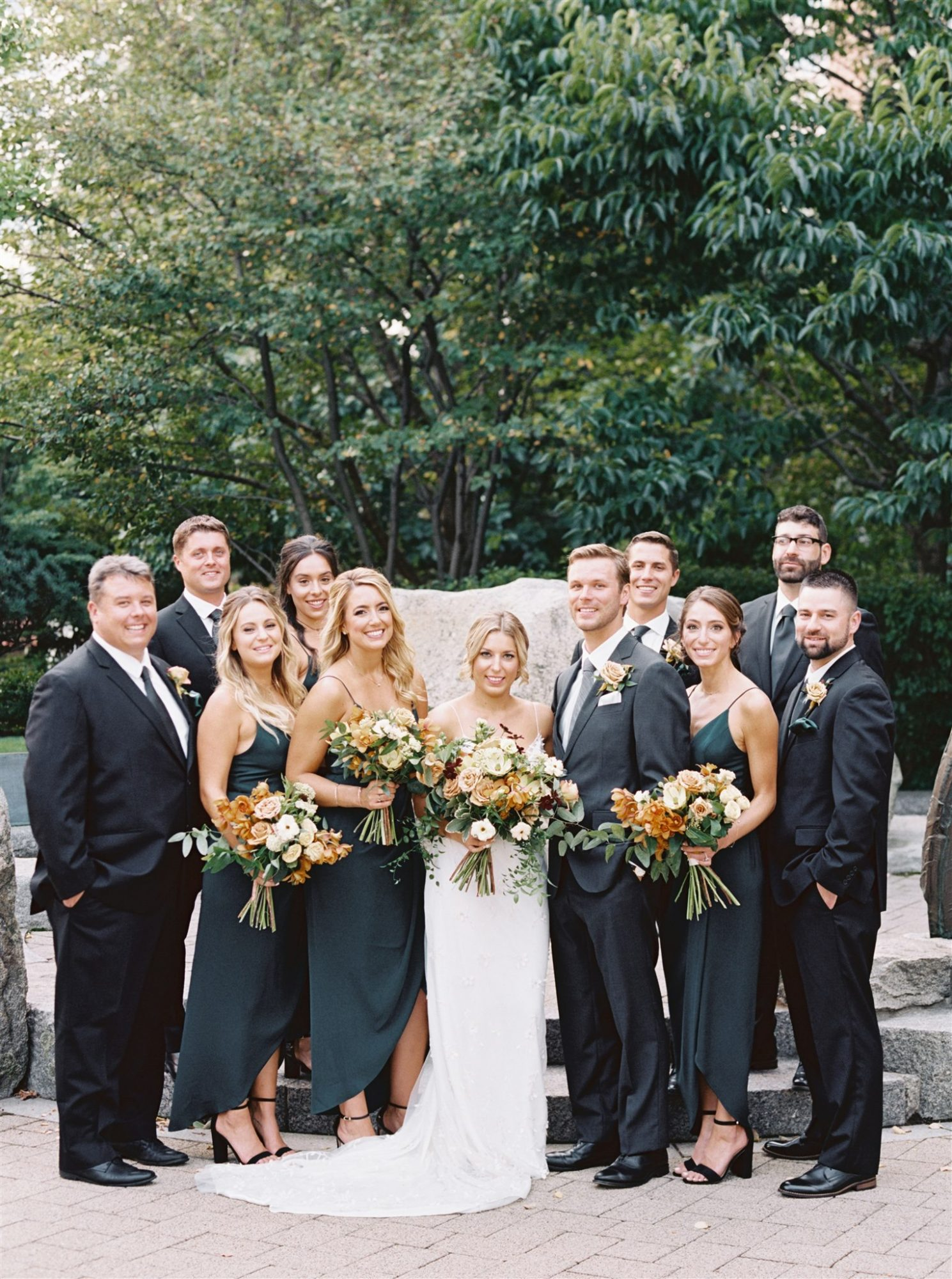 brianna and drew with wedding party
