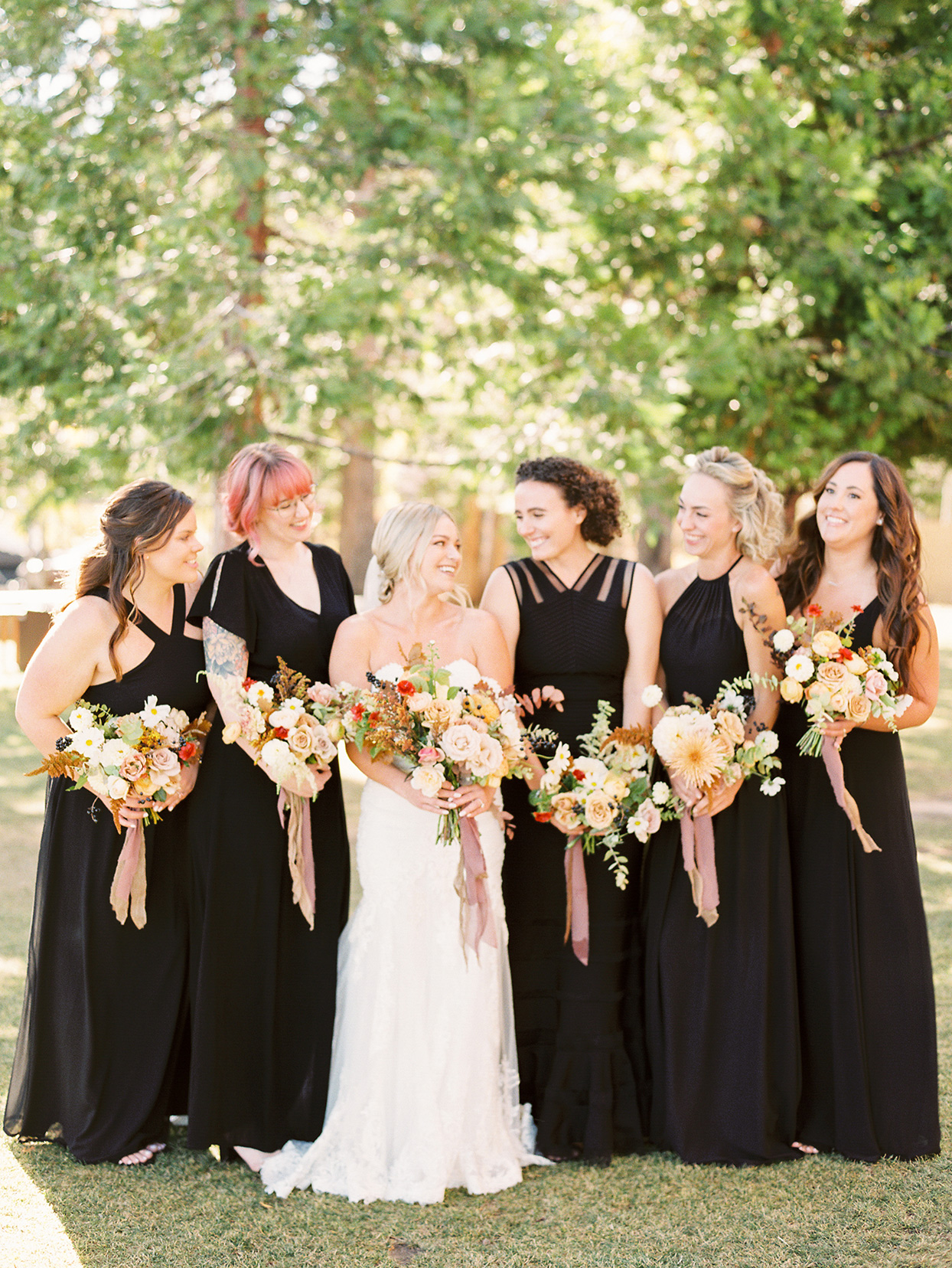 alexandra david wedding bride and maids in black