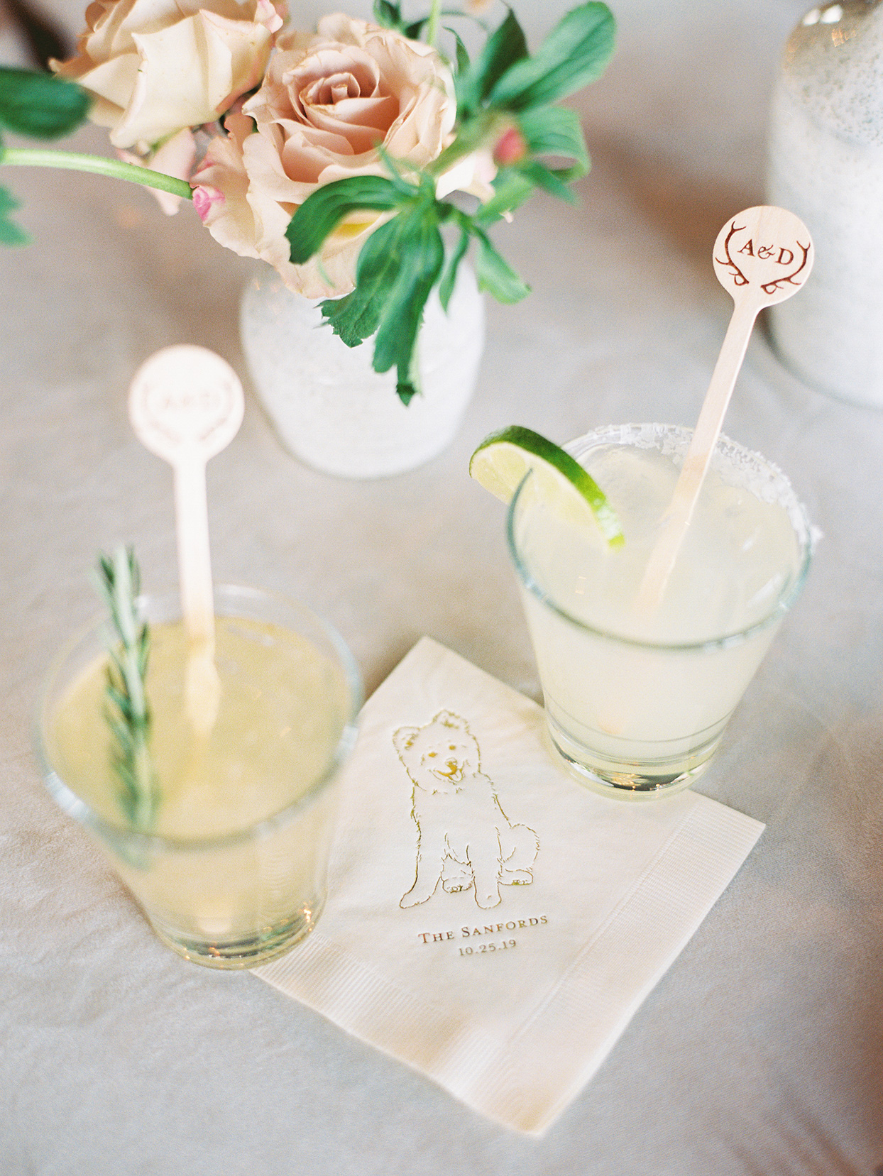 alexandra david wedding cocktails with personalized dog napkin