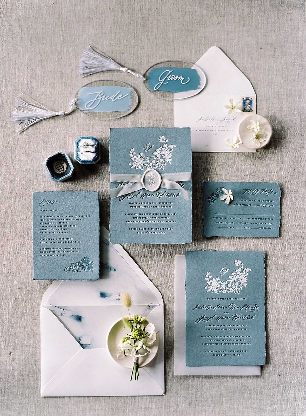 blue and white distressed edge stationery suite