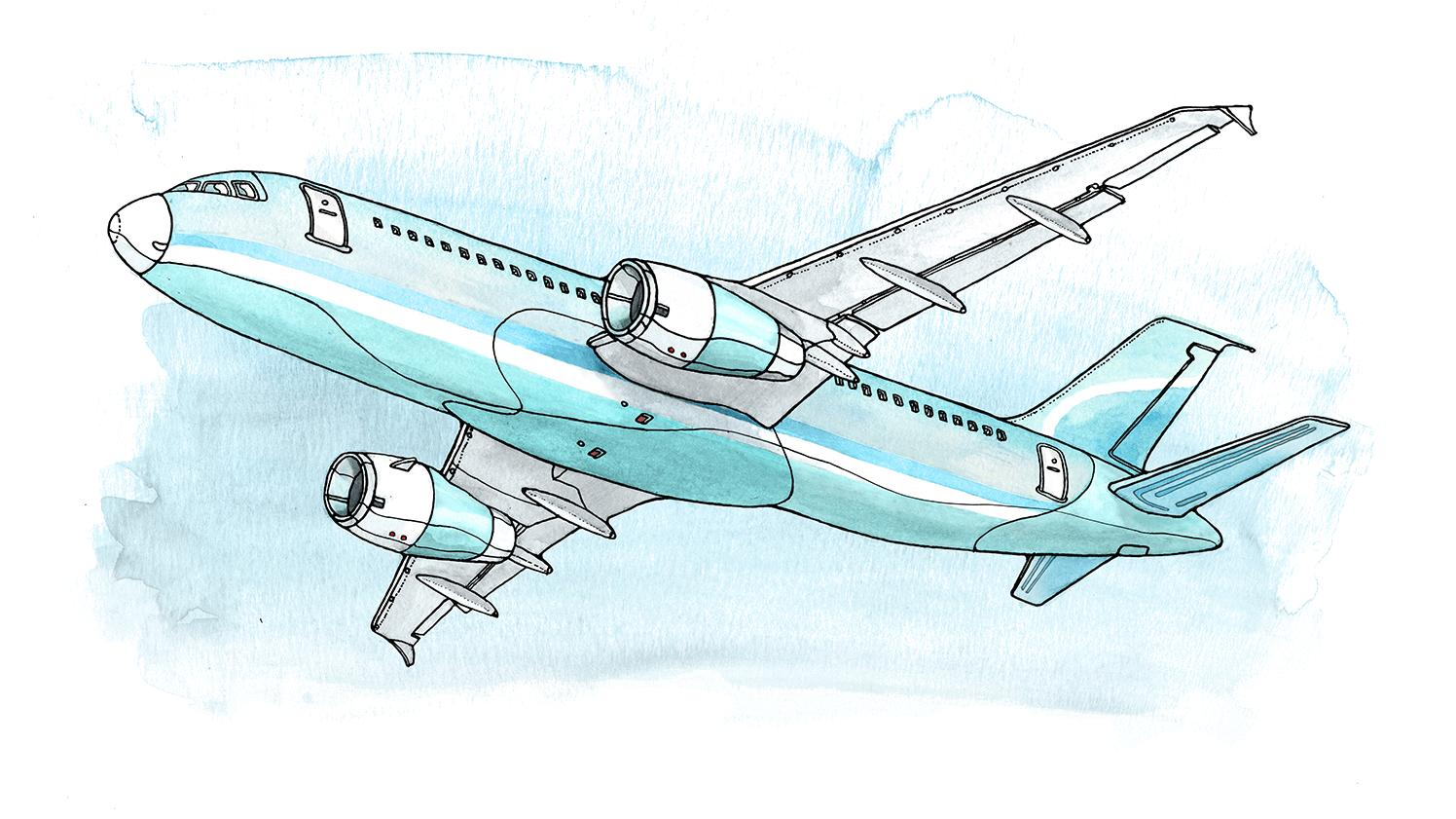 Airplane in-flight illustration