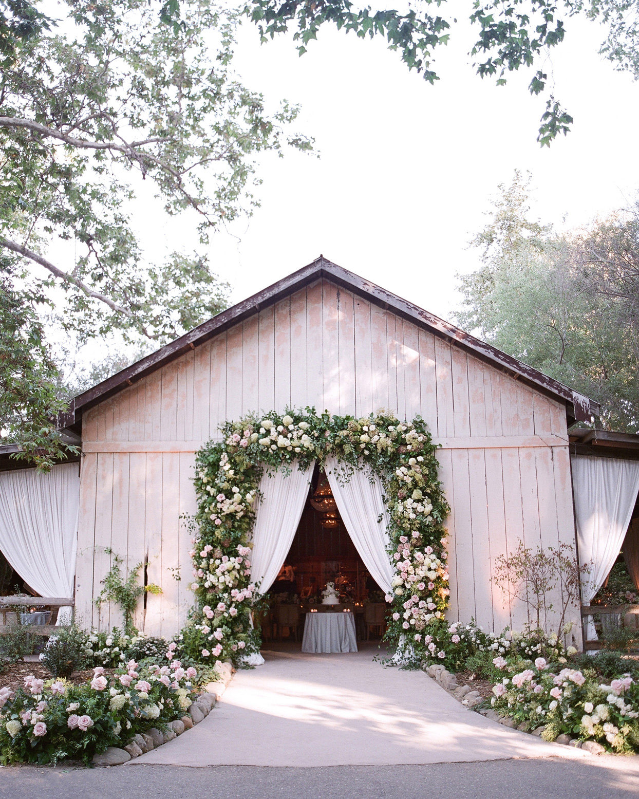 large barn area wedding reception entrance