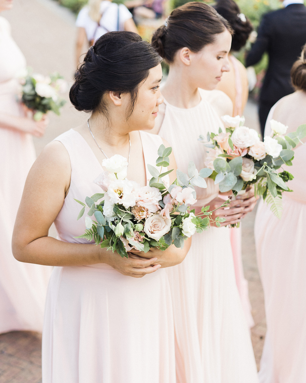 grace john wedding bridesmaids in pastel pink dresses