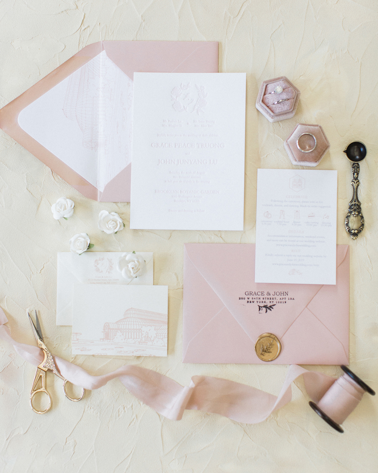grace john wedding pastel pink and white invitations