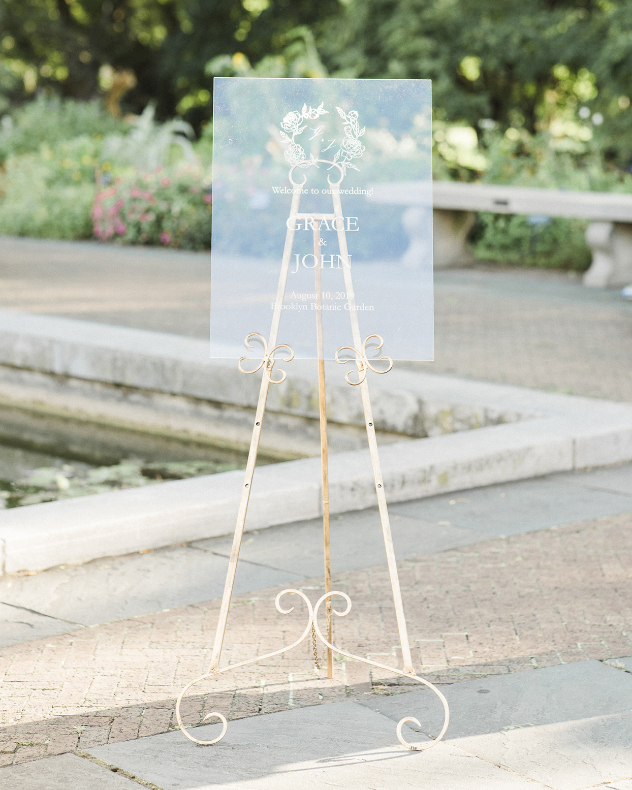 grace john wedding lucite sign at botanic center