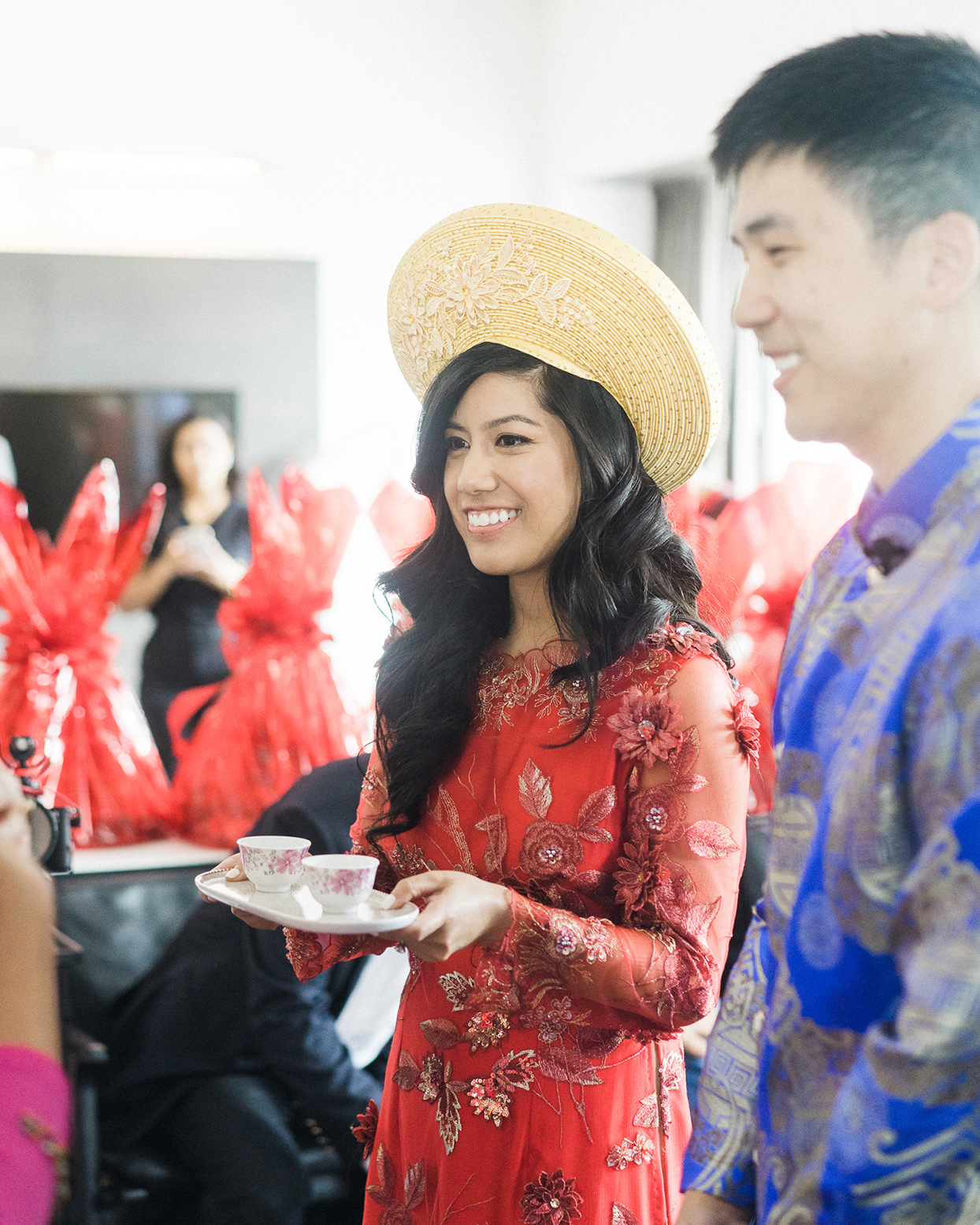 grace john wedding couple wearing traditional attire during tea ceremony