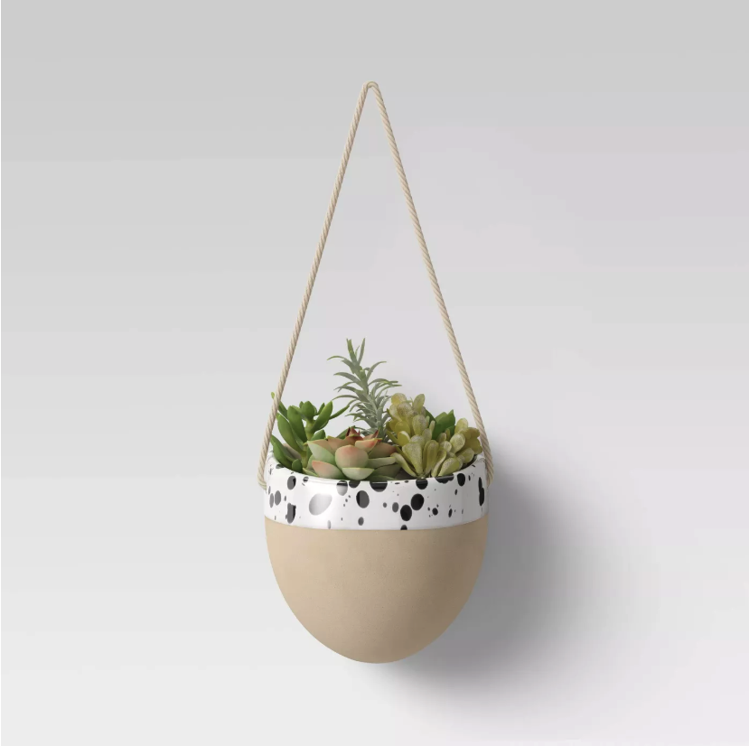 hanging speckled wall planter