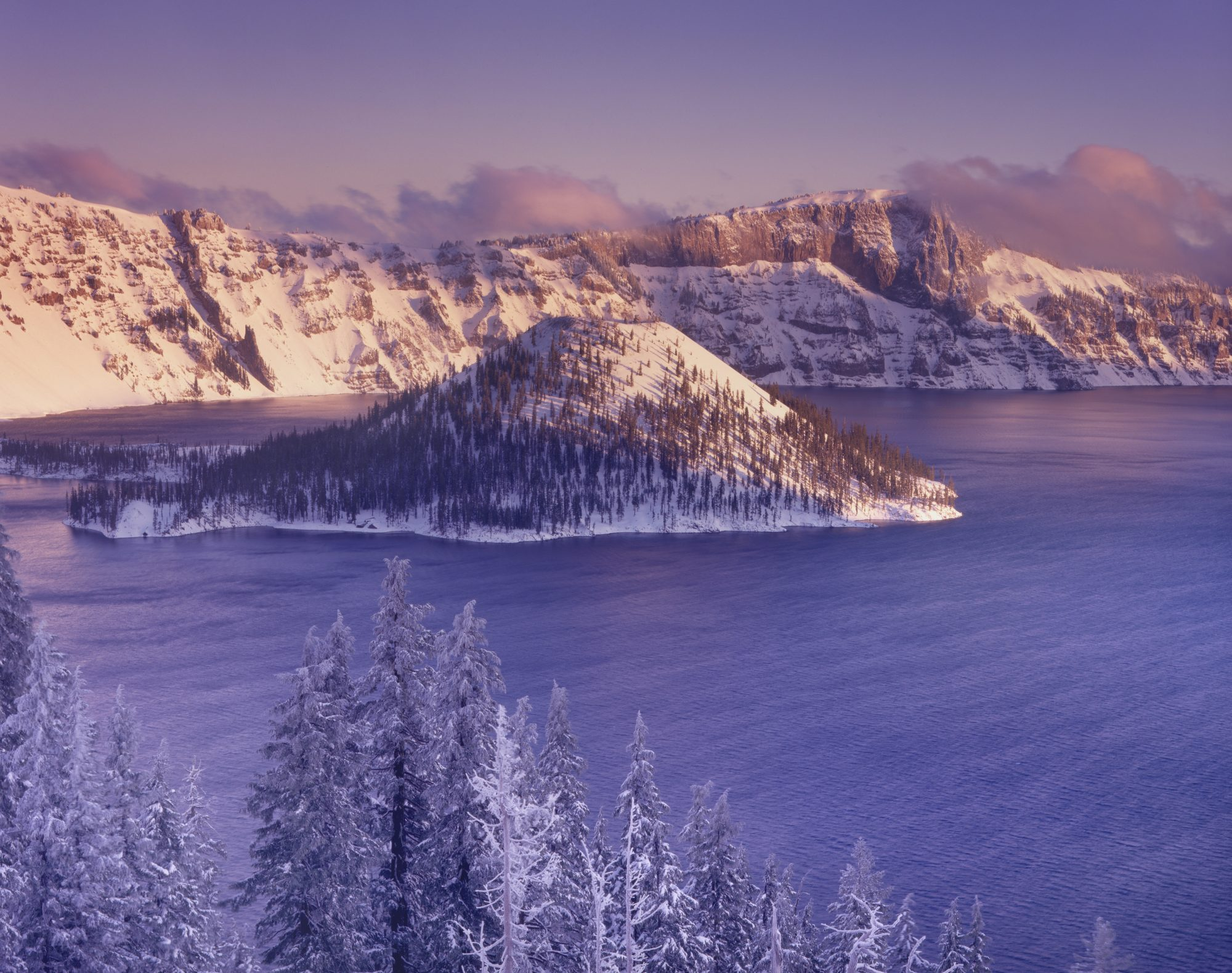 Winter dawn over Crater Lake and Wizard Island, Crater Lake National Park Oregon