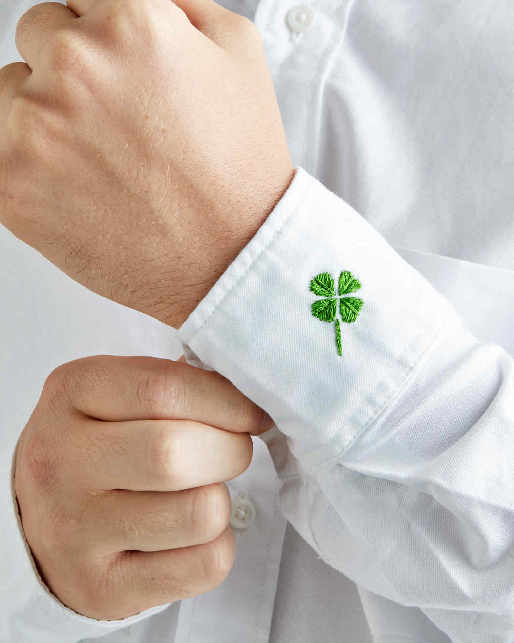 four-leaf clover embroidered cuff