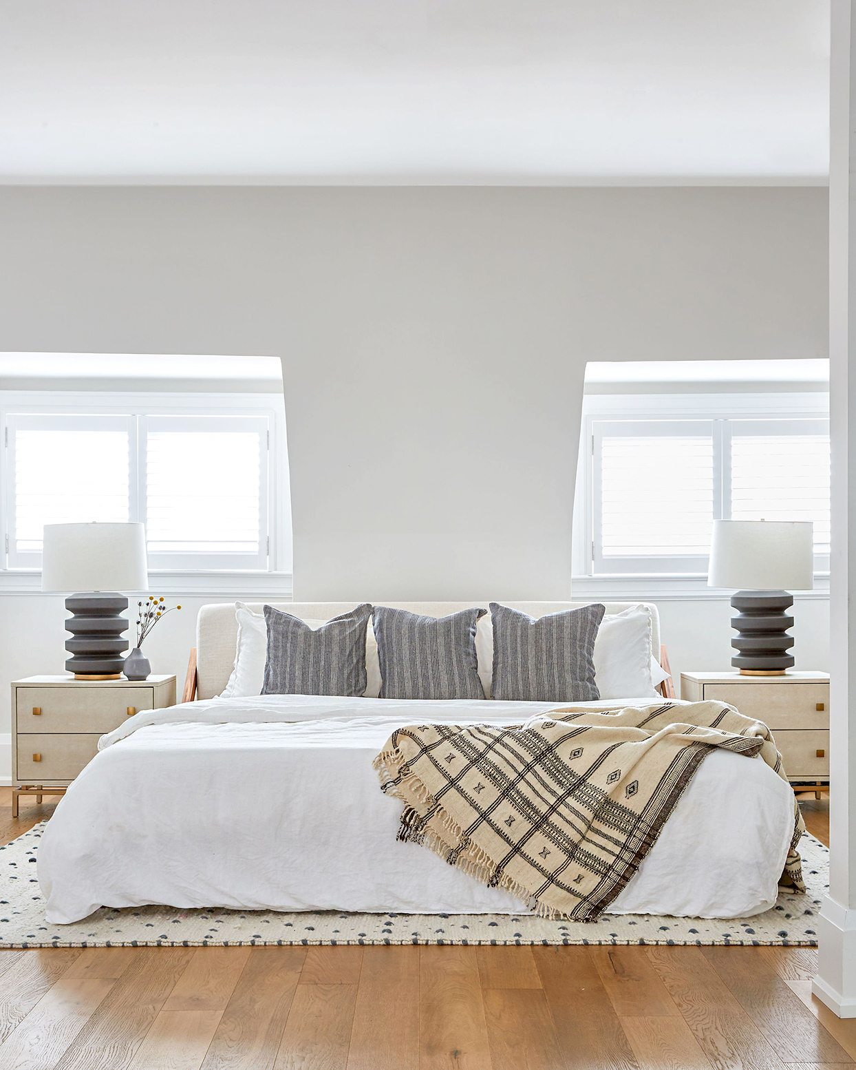Bedroom in light neutral color palette