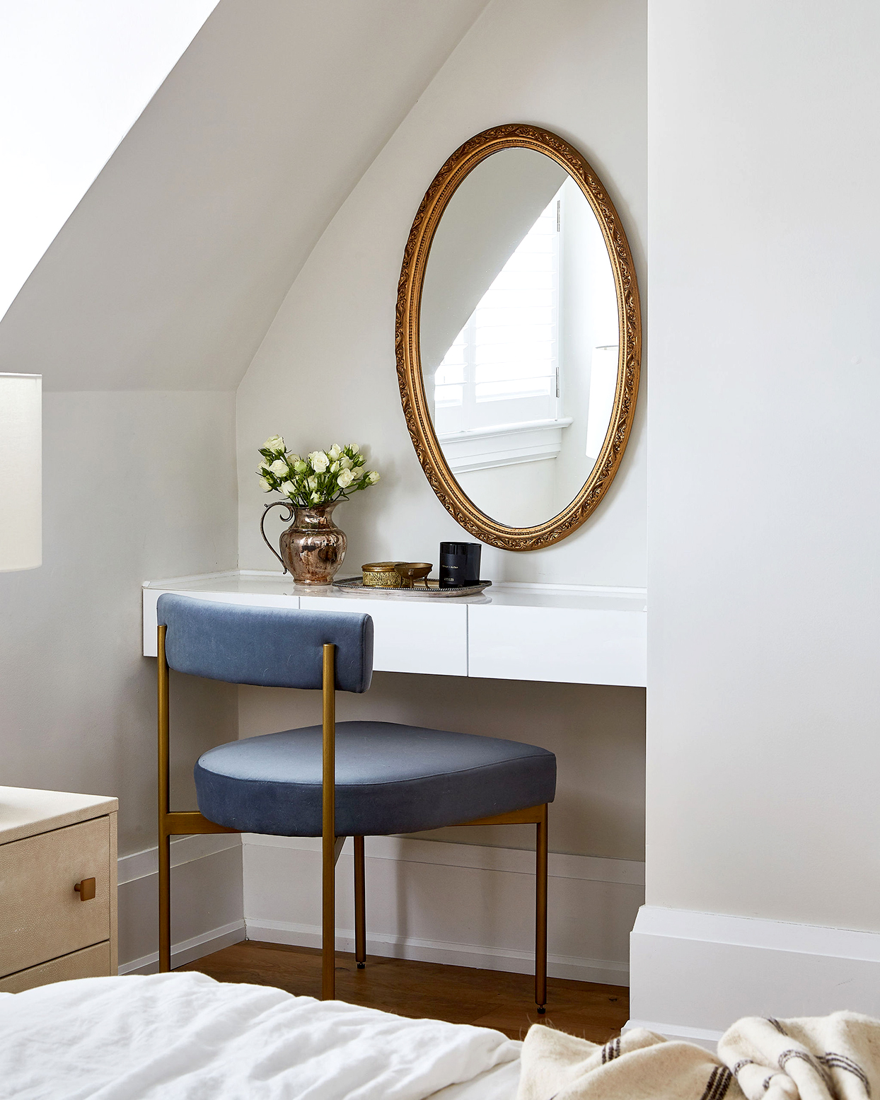 A nook turned into a vanity