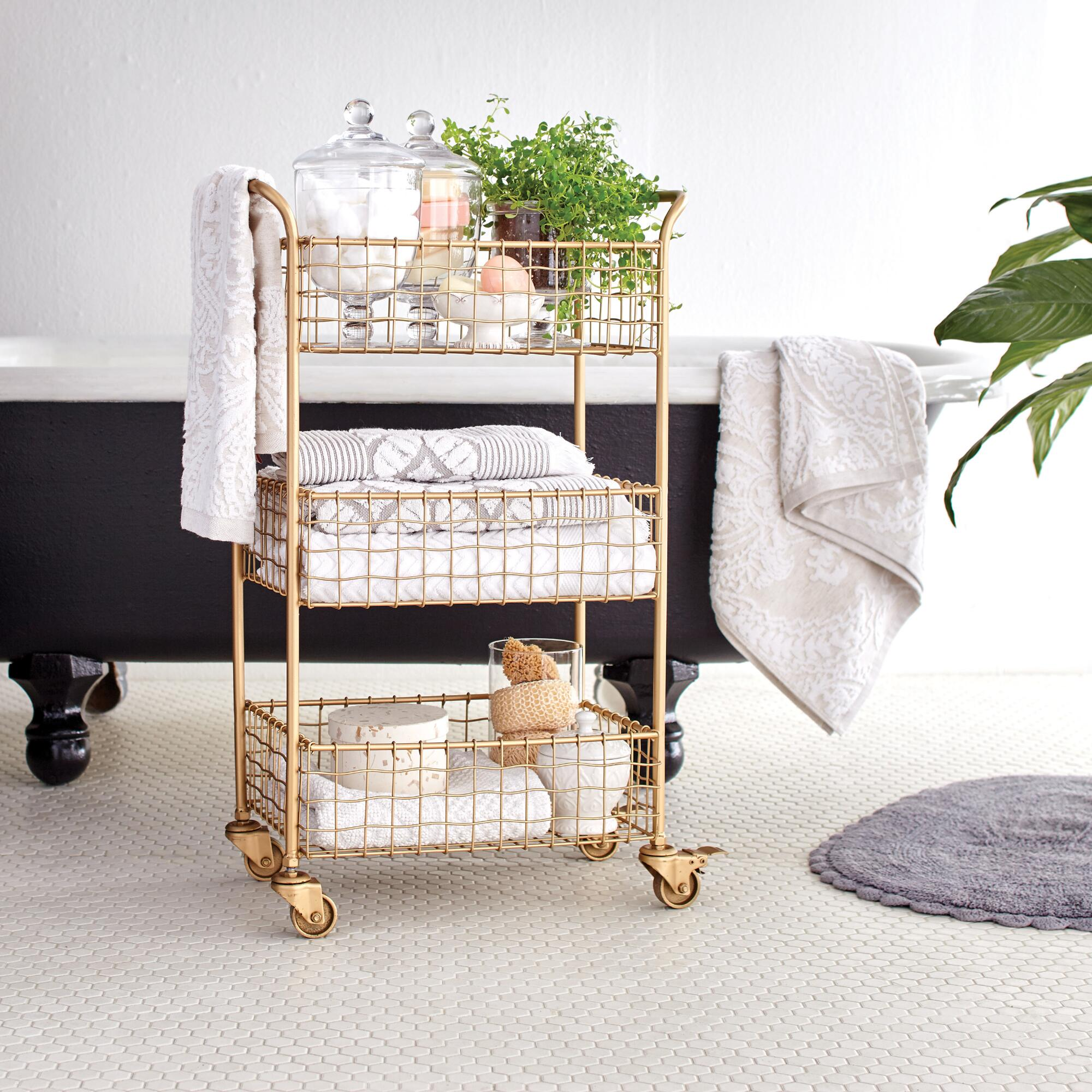 gold wire bathroom cart