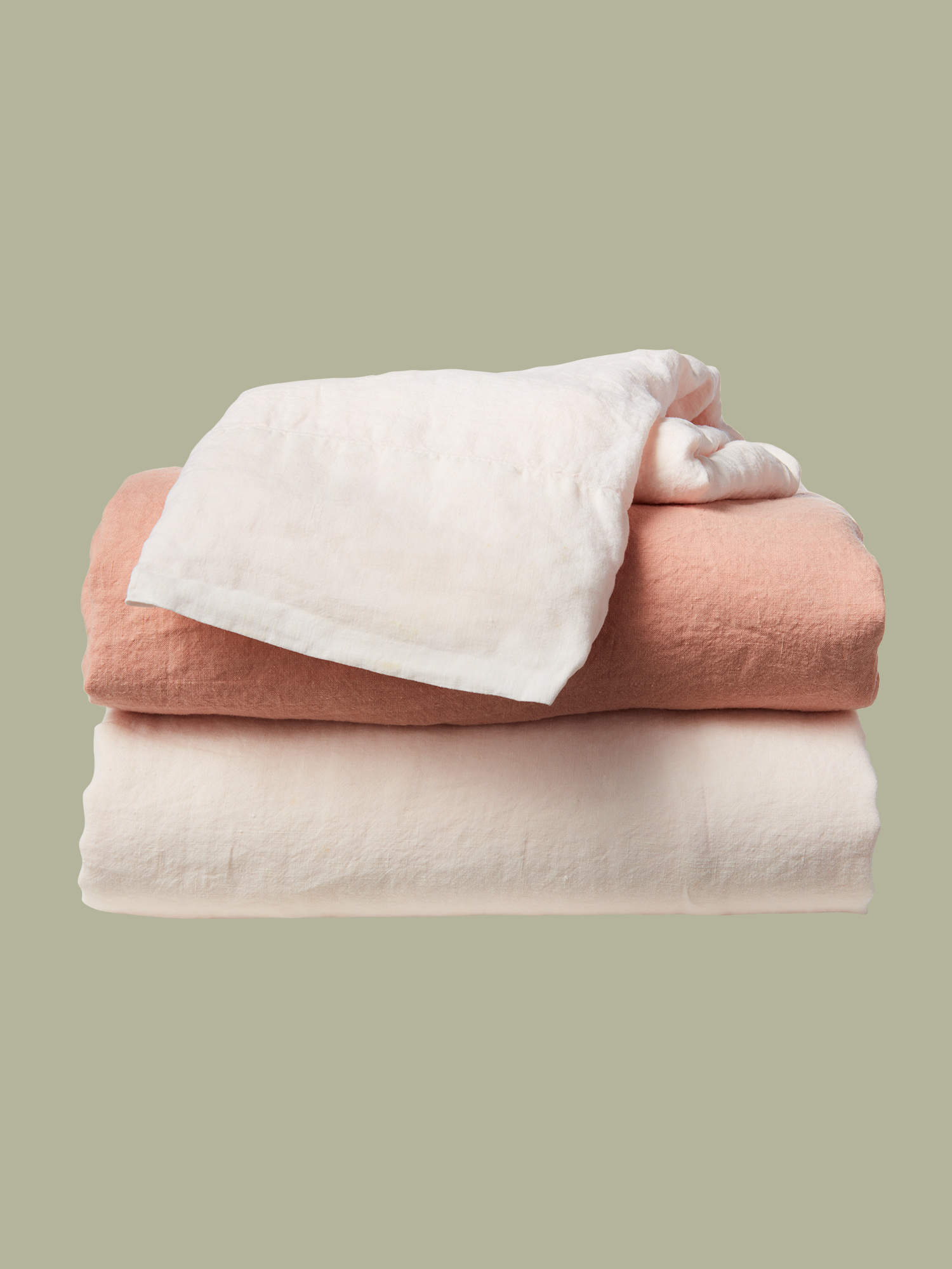 Hawkins New York linen sheets in Blush and Petal