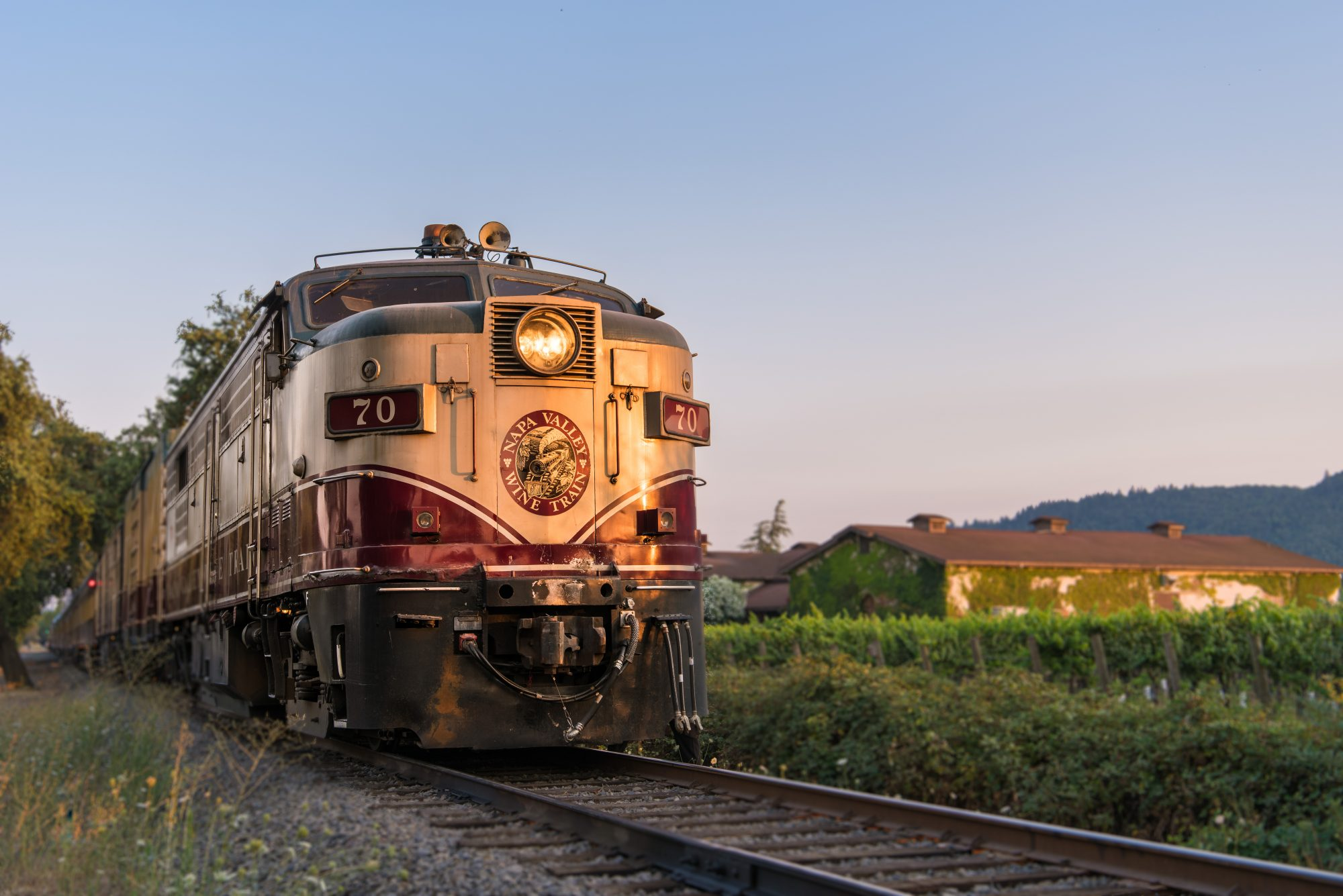 the Napa Valley Wine Train at sunset