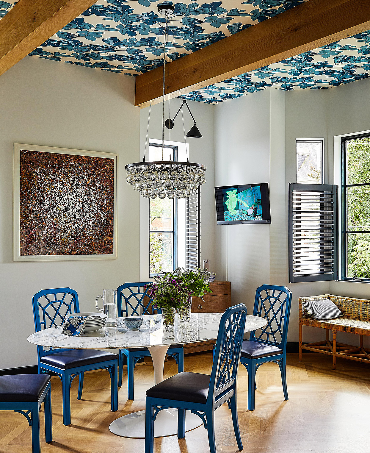 bright and cheery blue and neutral tones breakfast nook
