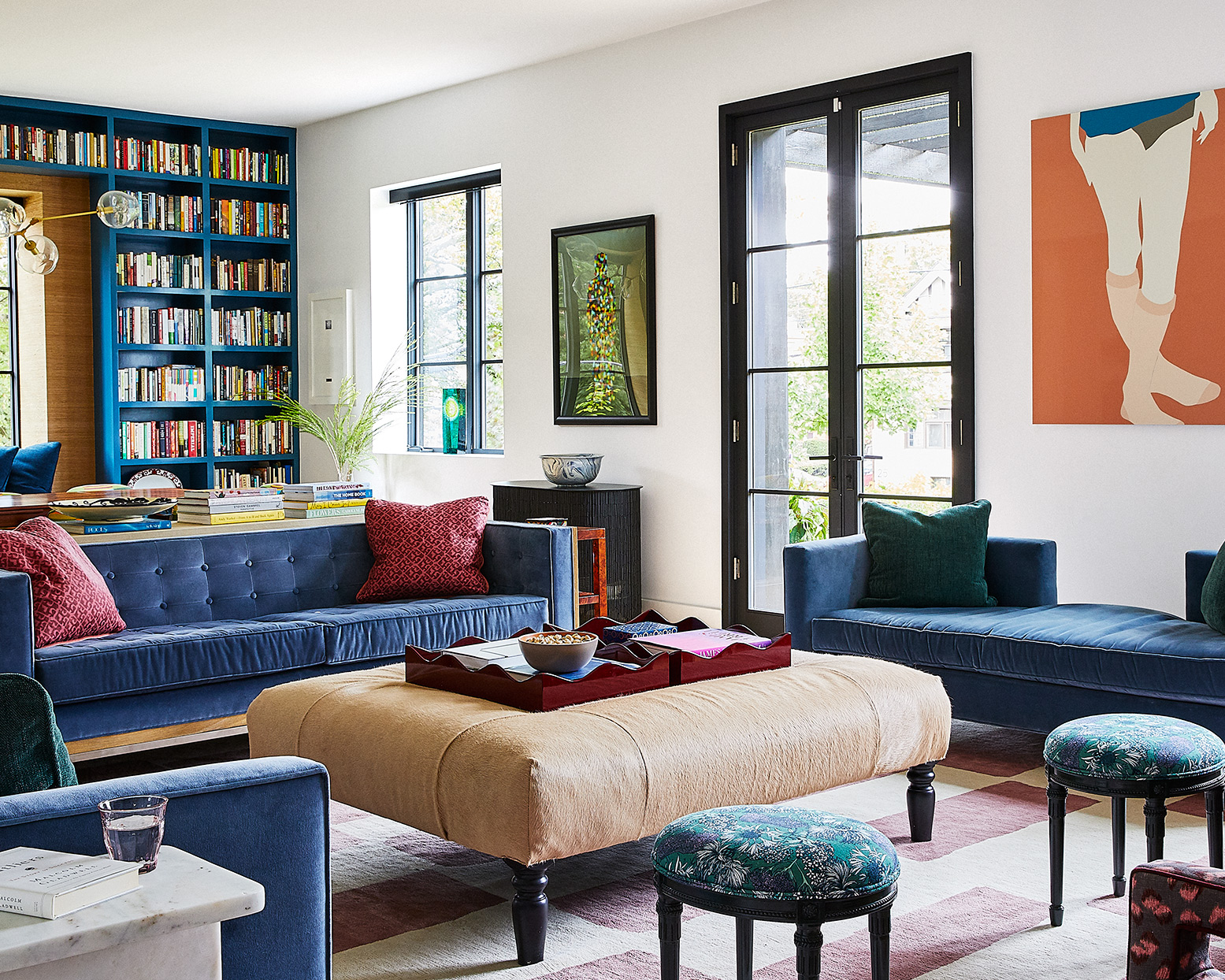 colorful blue pink and orange living room in pittsburgh house