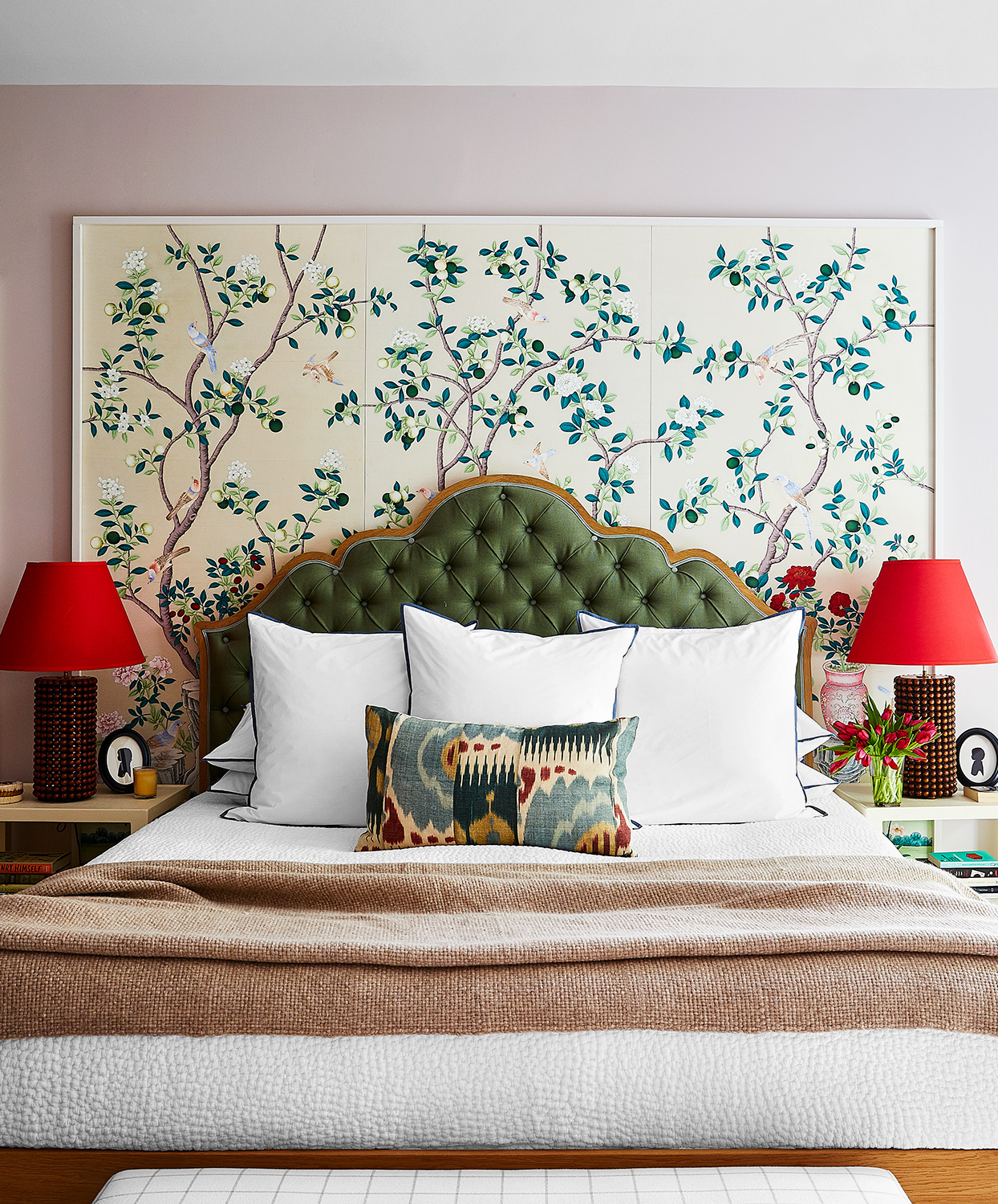 red, green and neutral toned master bedroom