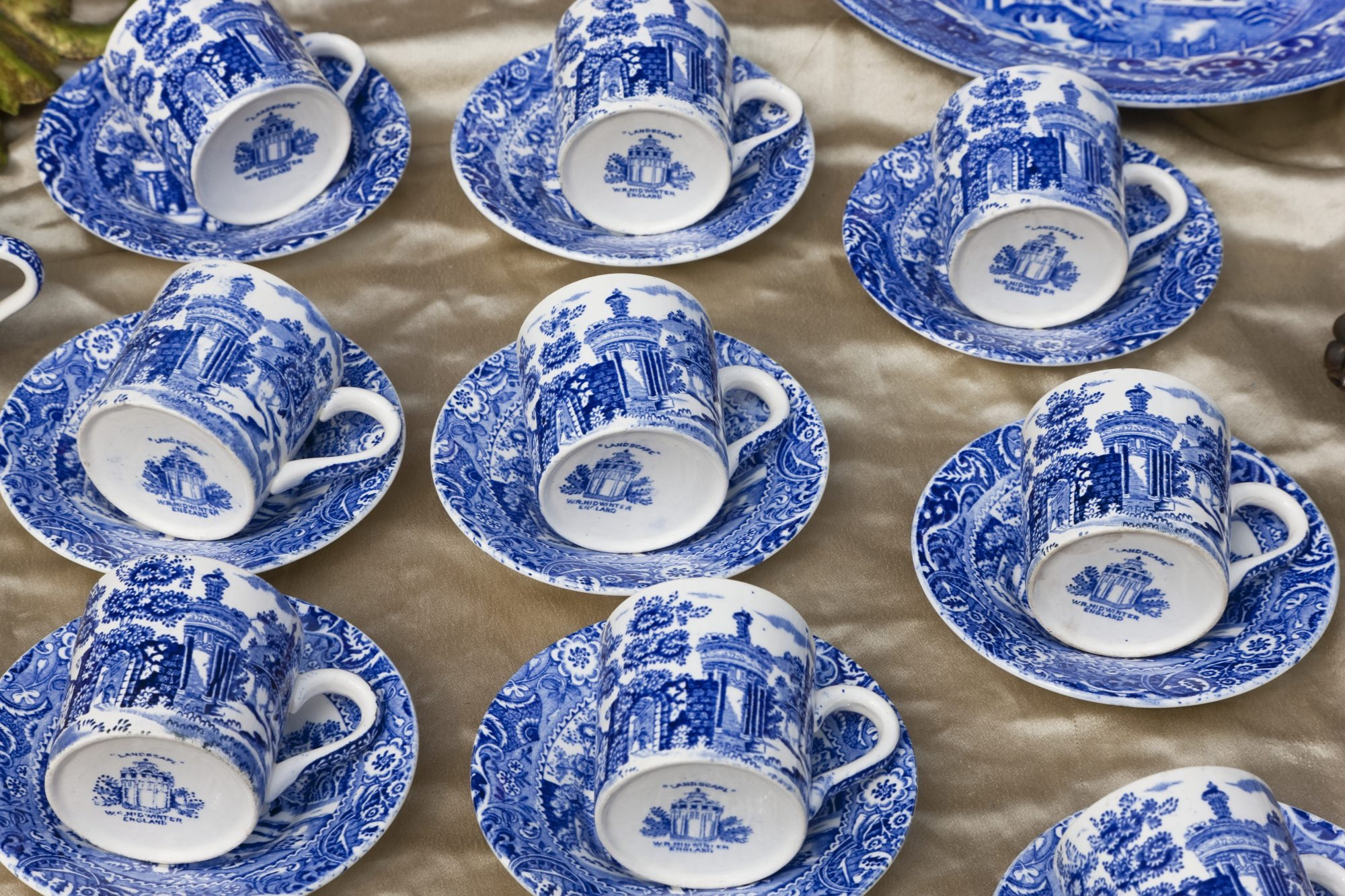 antique blue and white tea cups and saucers