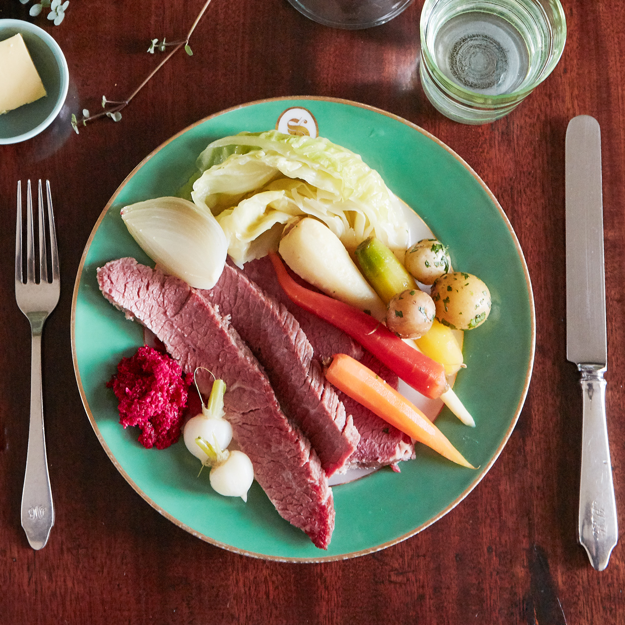 plate of quick-brined corned beef and vegetables