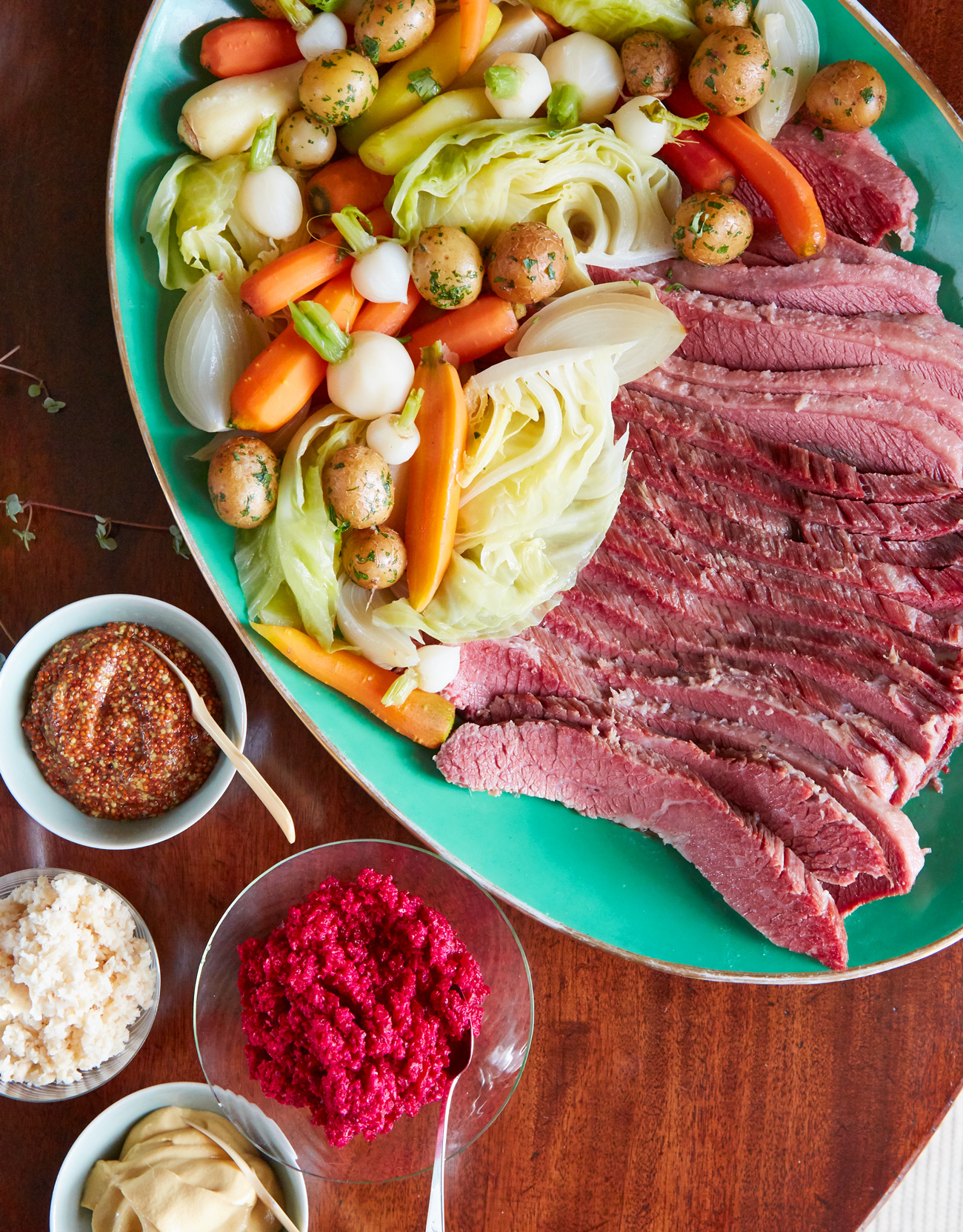 quick brined corned beef and vegetables and horseradish