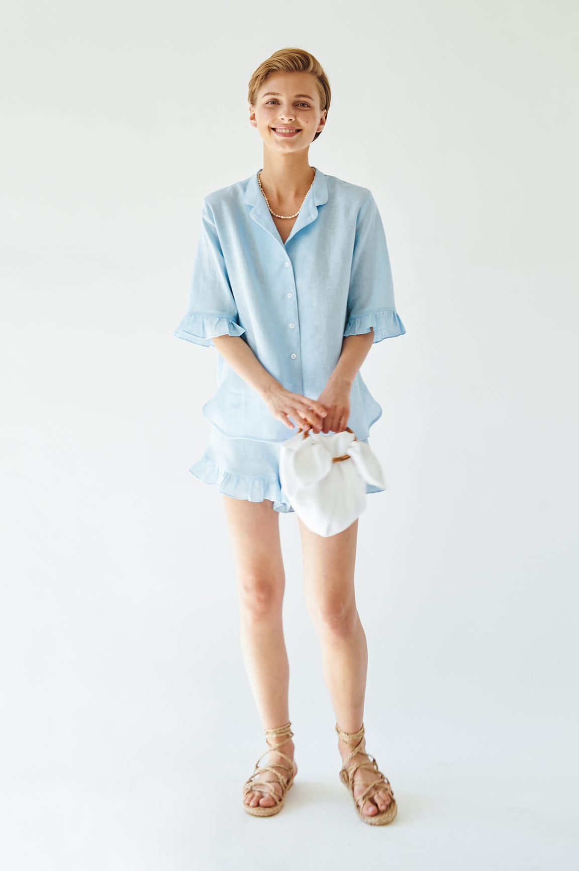 Sleeper Linen Lounge Suit in Moonstone Blue