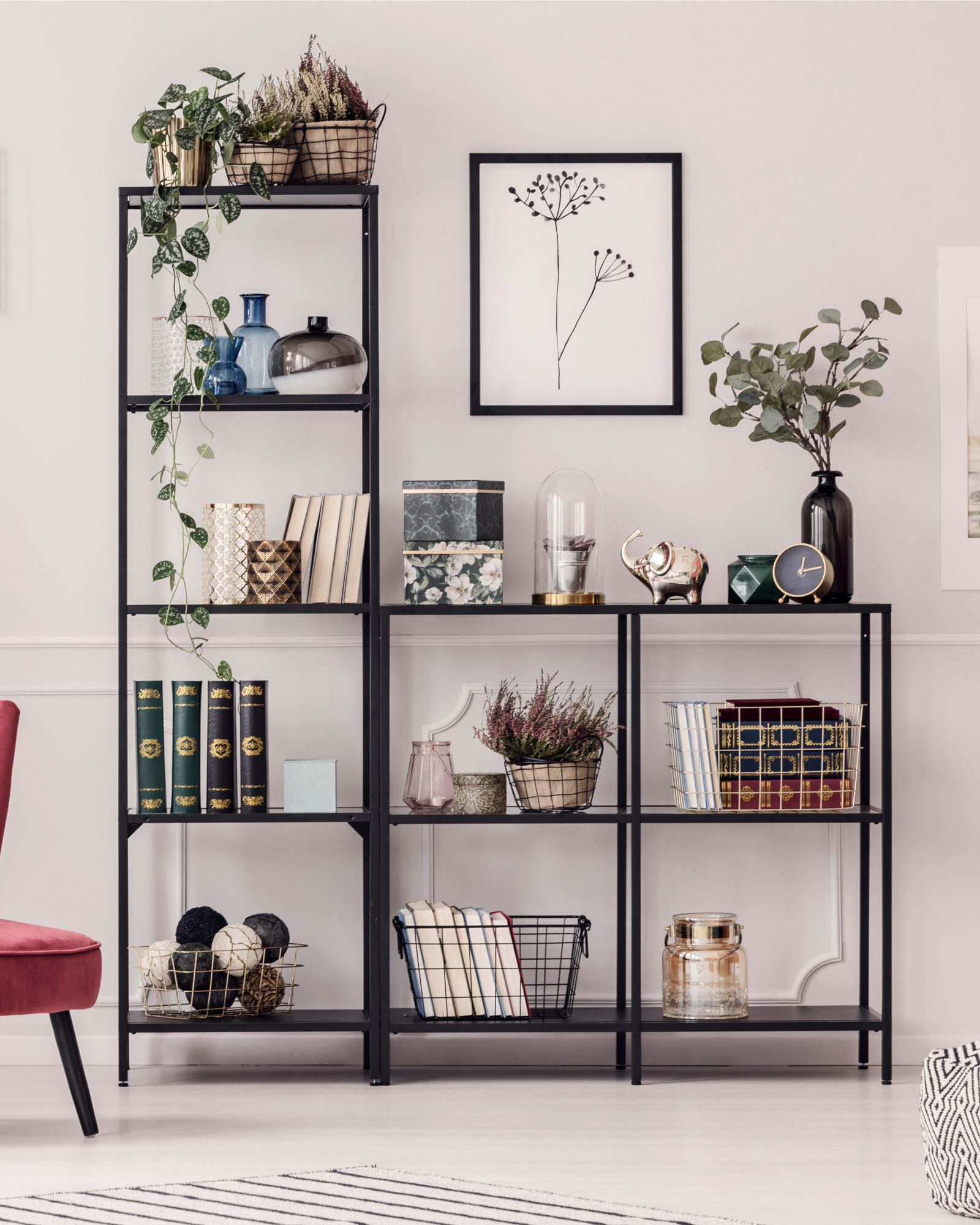 stylish bookcase in living room