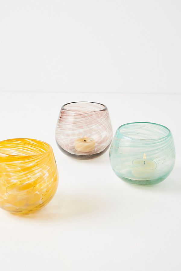 pastel colored votive candle holders
