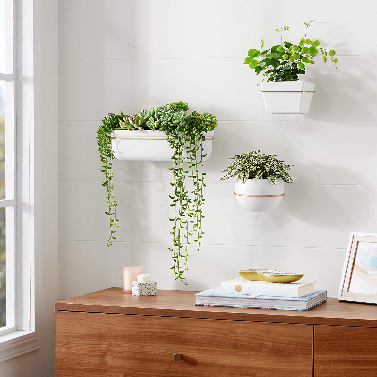 white and copper wall planter