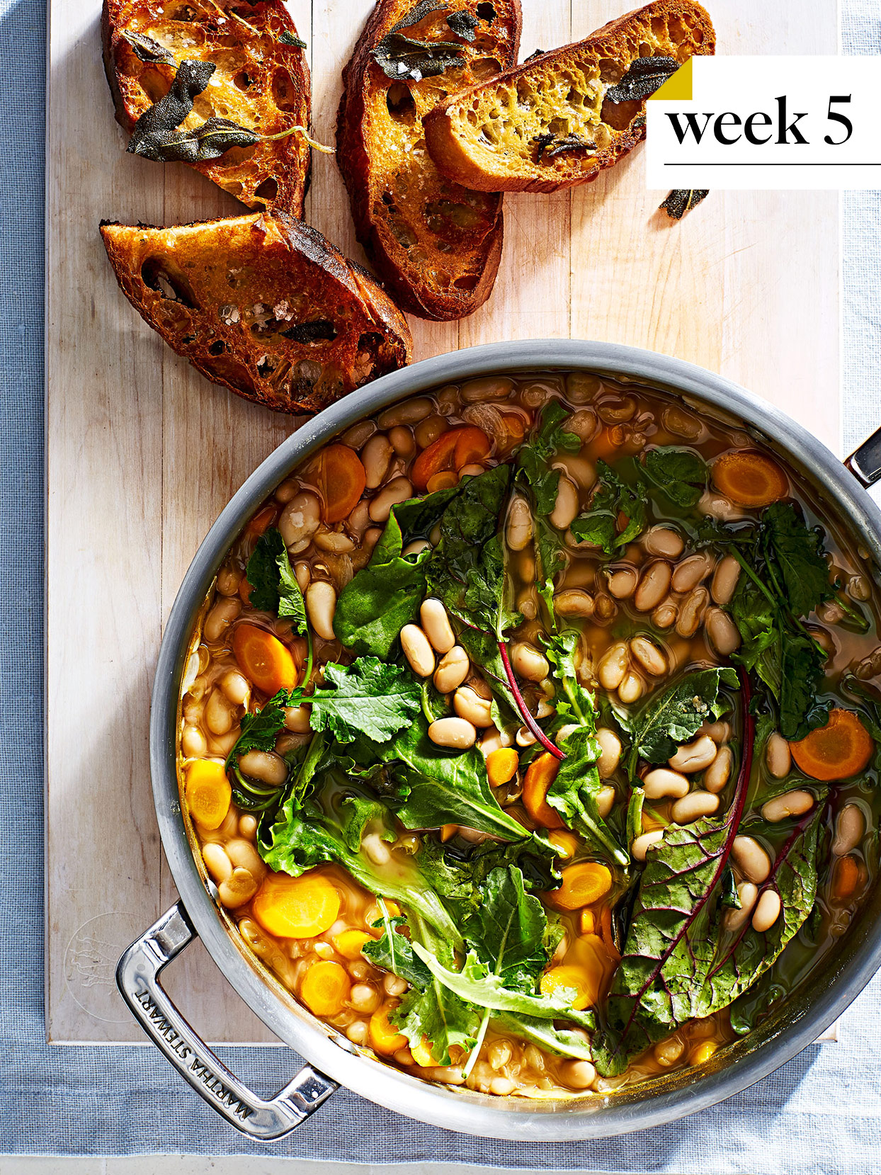 cannellini bean and greens stew with bread