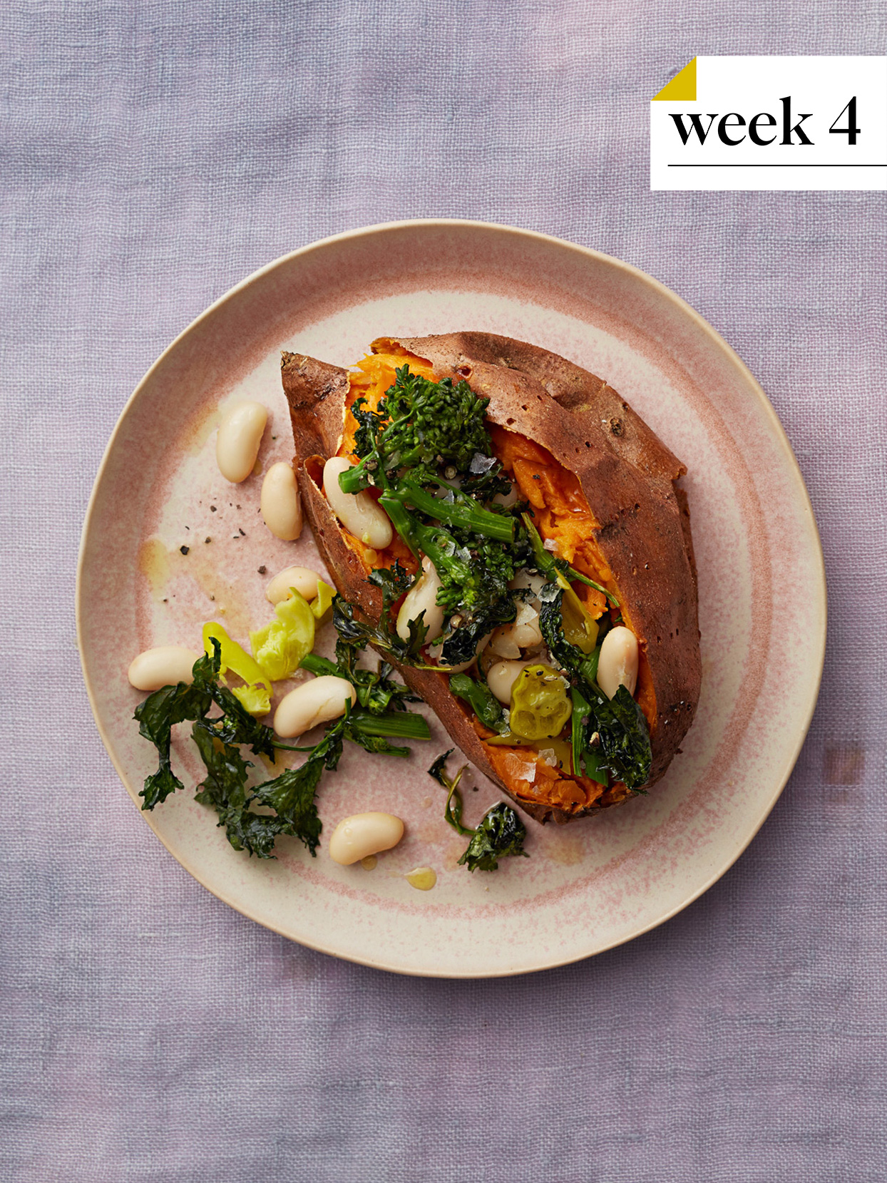 baked sweet potato with white beans and broccolini