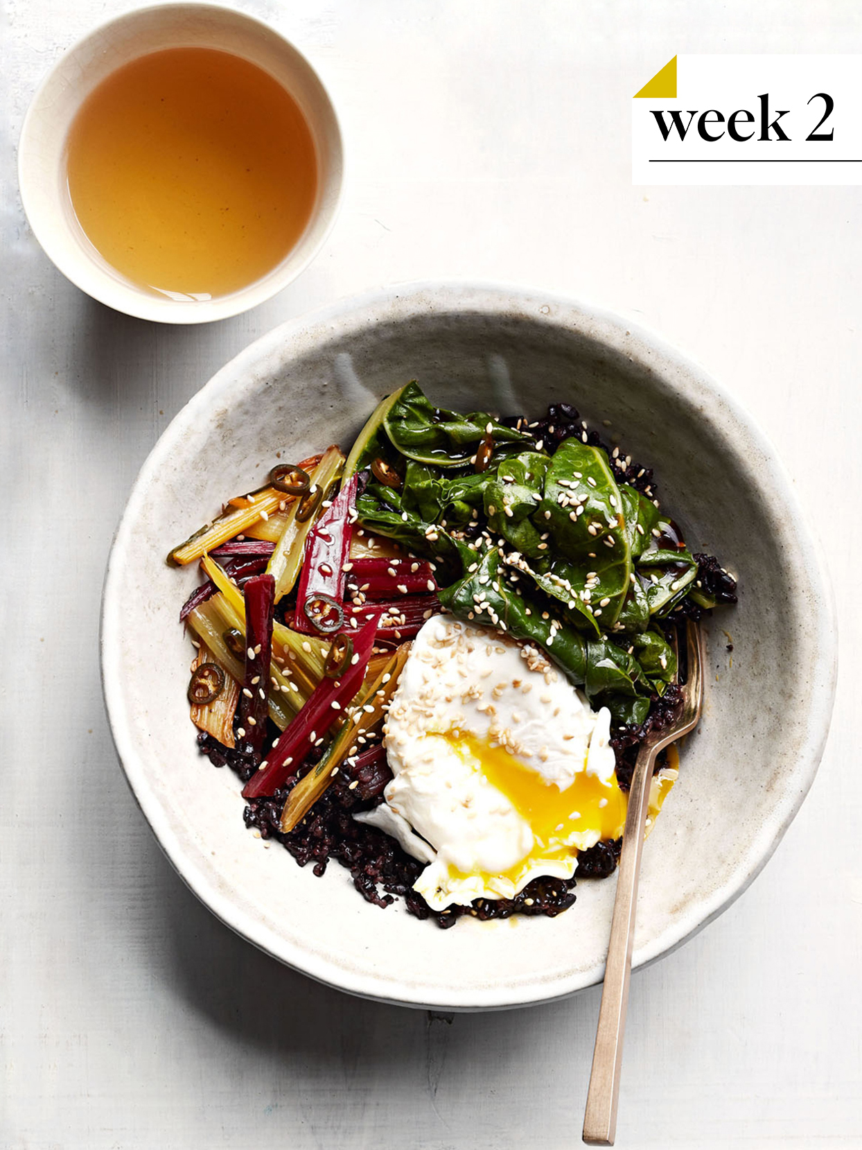 gingery rainbow chard black rice bowl