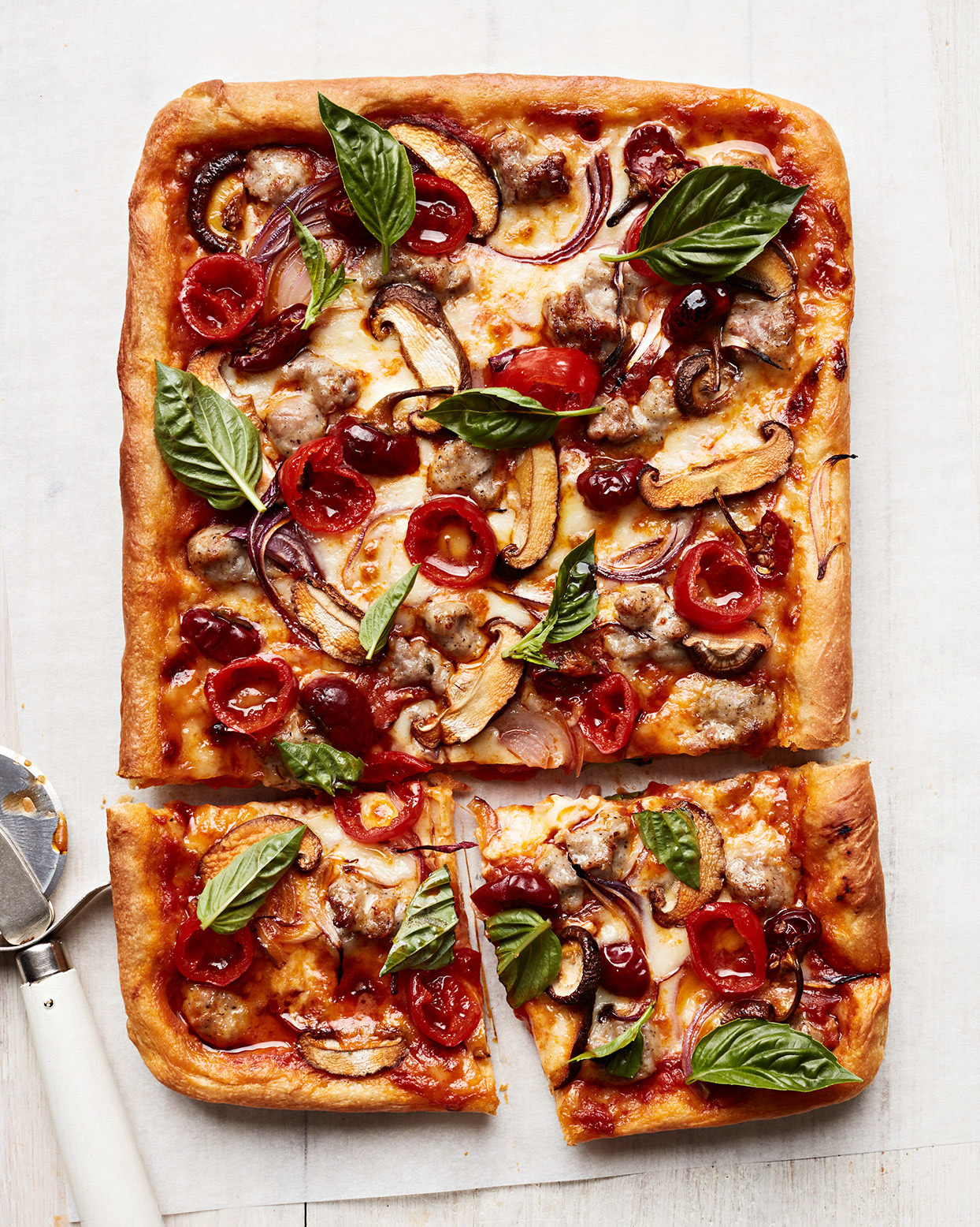 Sausage, Mushroom and Pickled Pepper Pizza 2