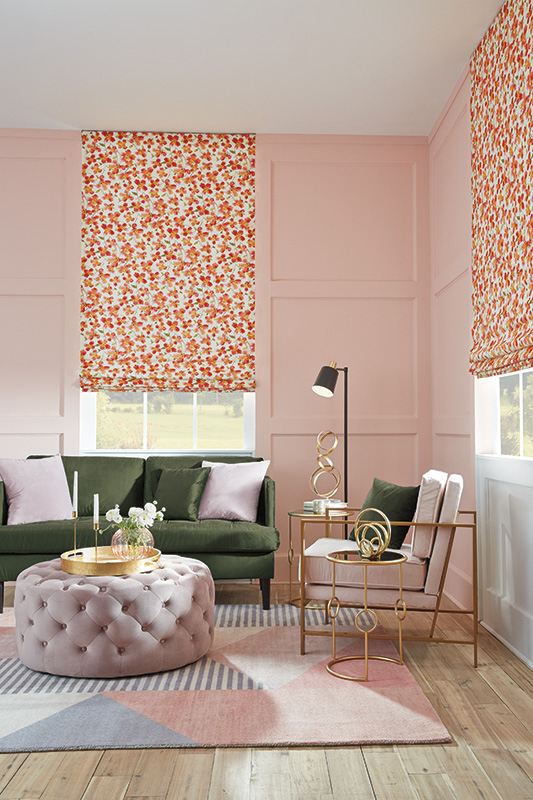 pink living room with pink floral shades