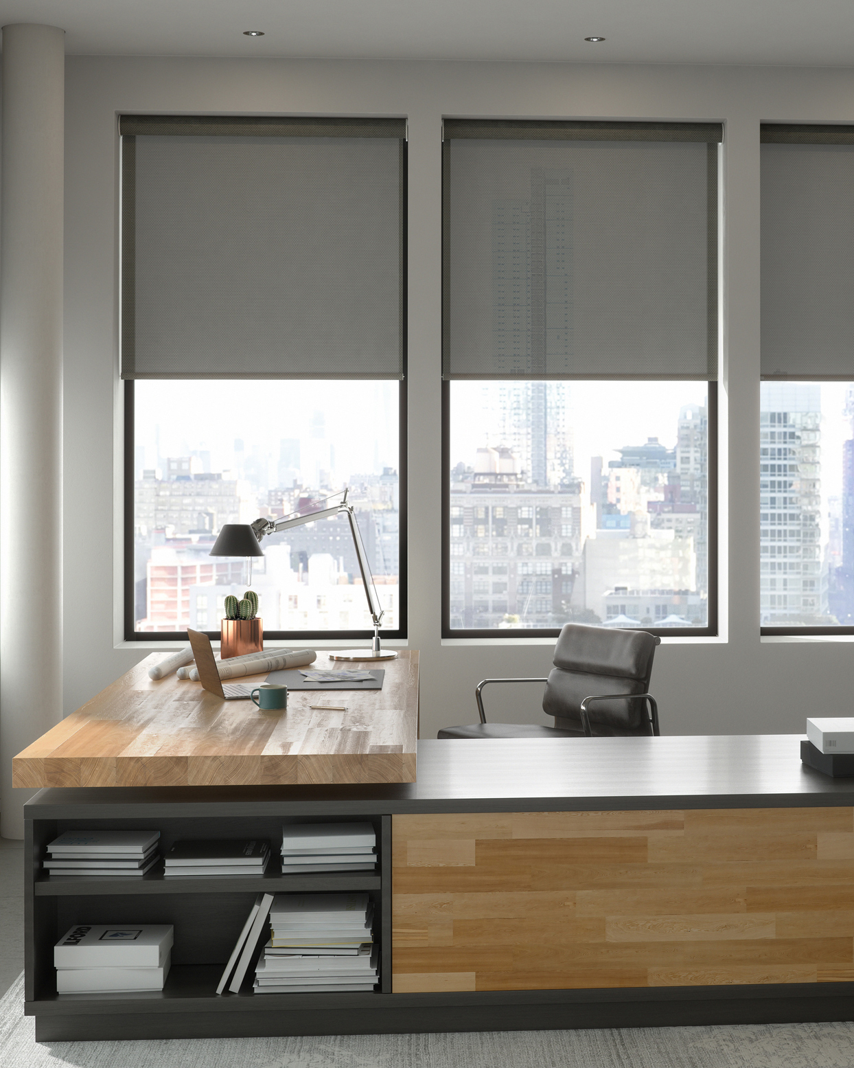 gray office space with solar shades