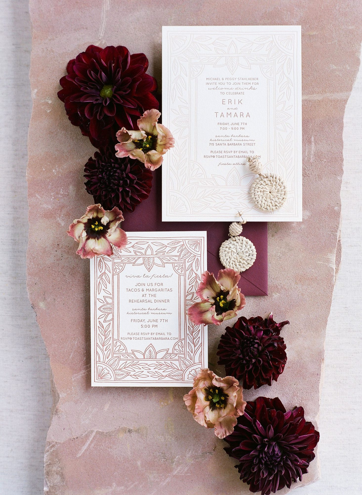 tamara erik wedding rehearsal dinner invites