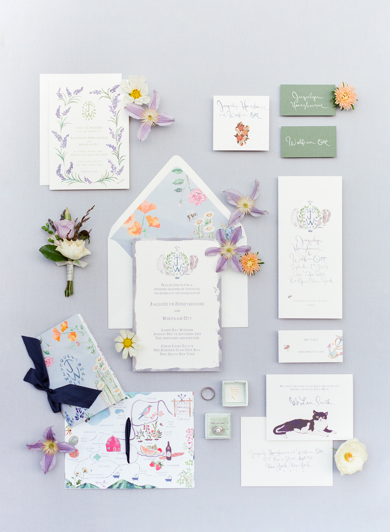 illustrated wedding invitation stationery suite