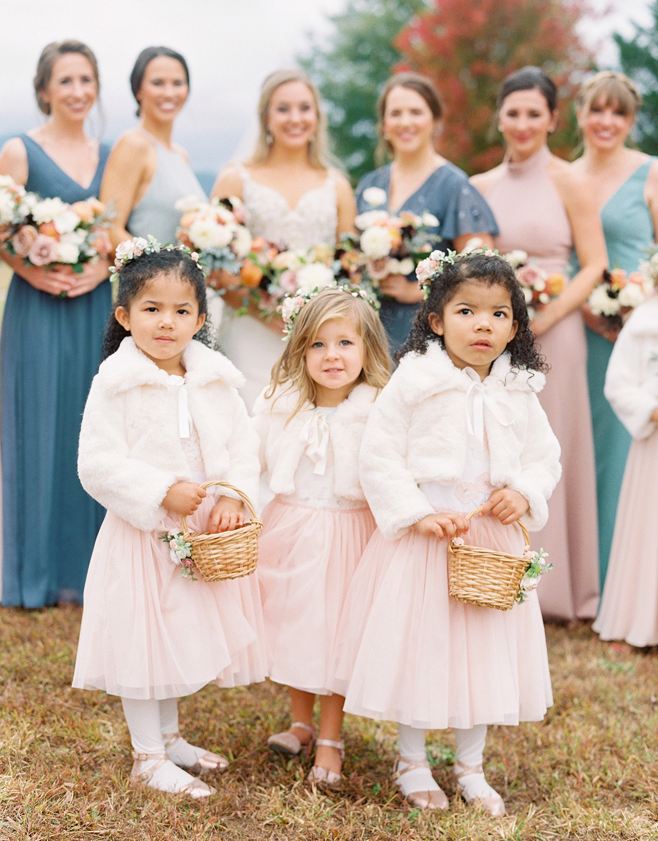 three young girls flower bearers pink dresses
