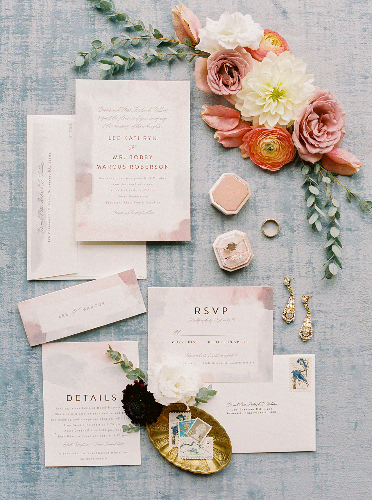 rosy chick invitation suite gold leaf accent