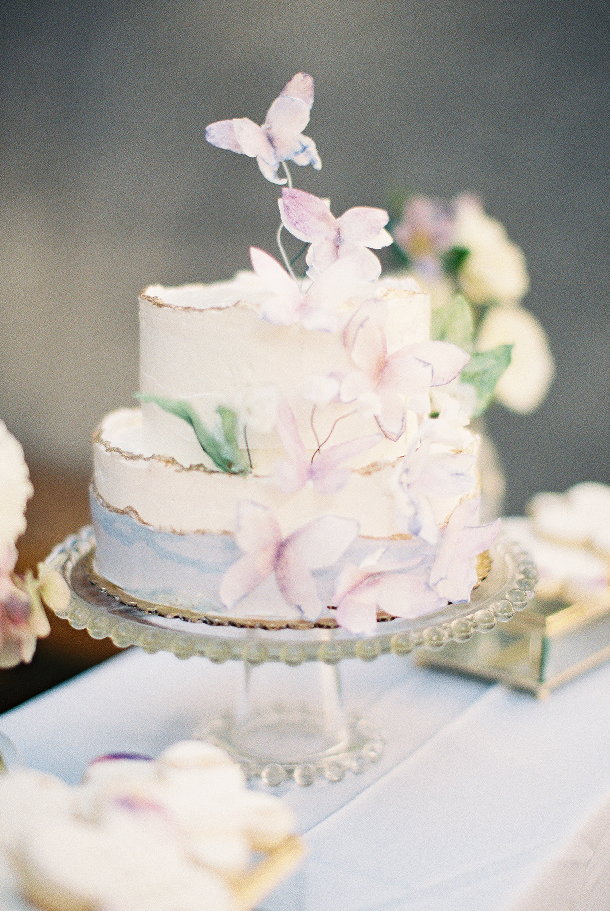 sally bridal shower cake with butterfly decorations