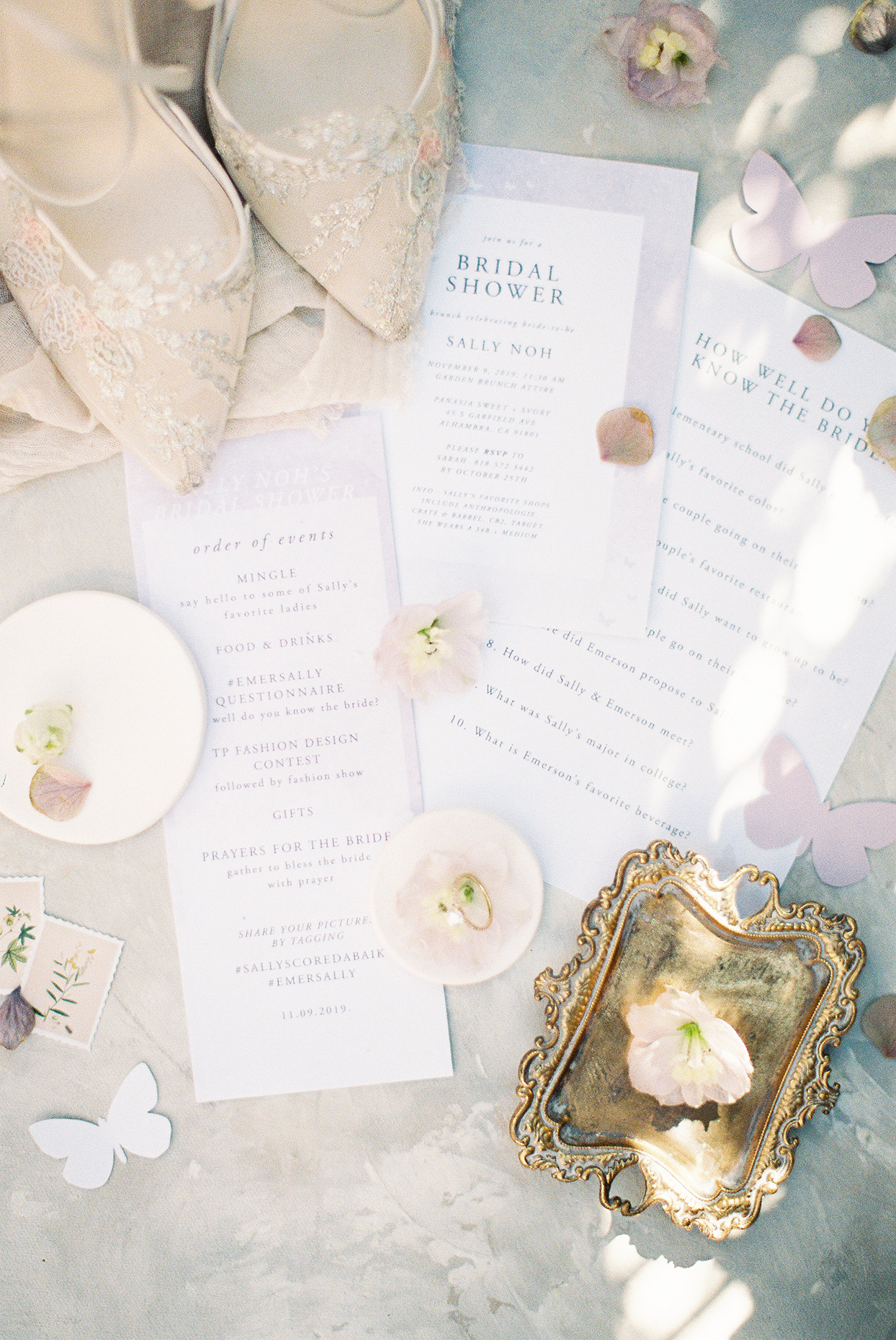 sally bridal shower stationary with butterfly decorations
