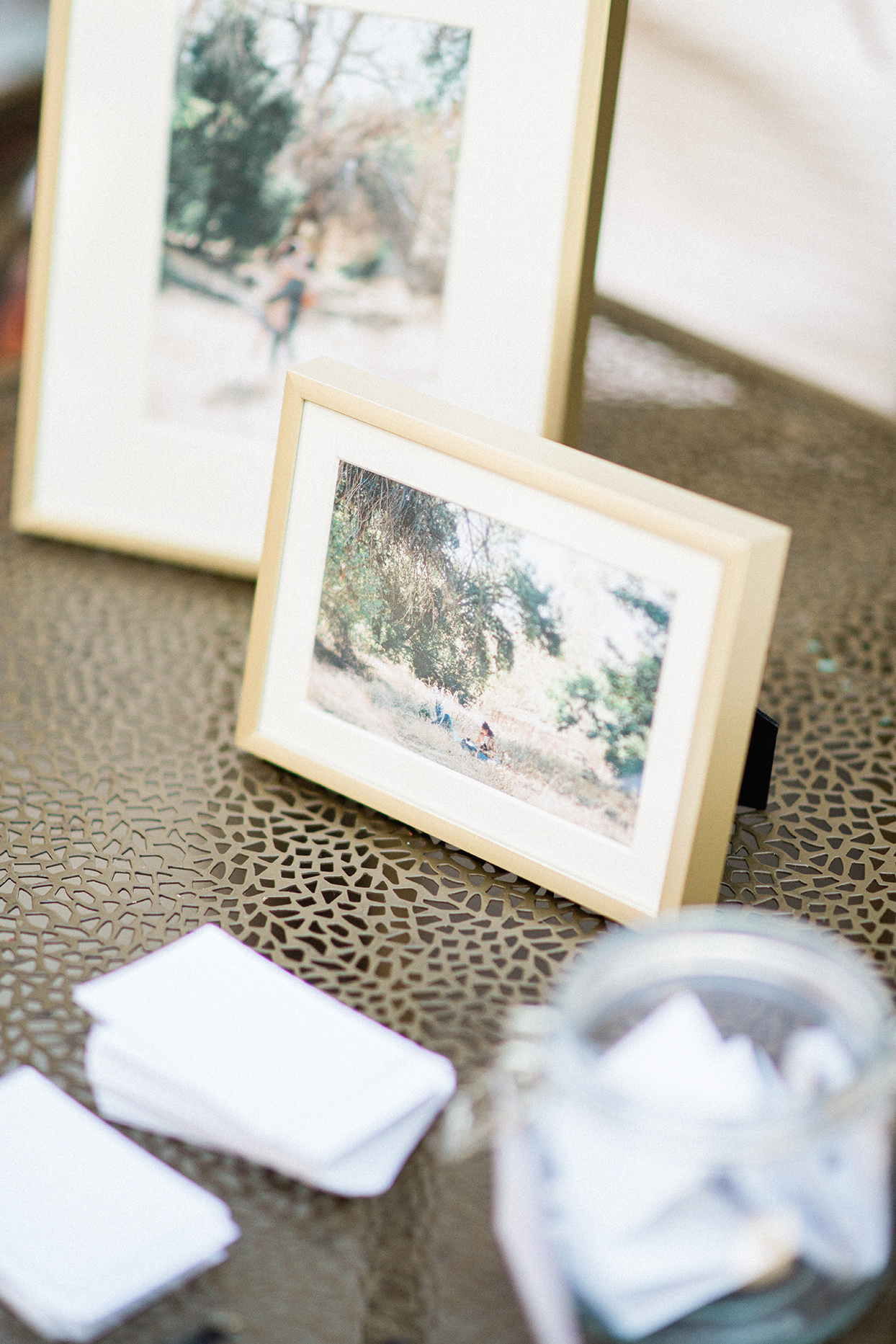 sally bridal shower photographs on welcome table