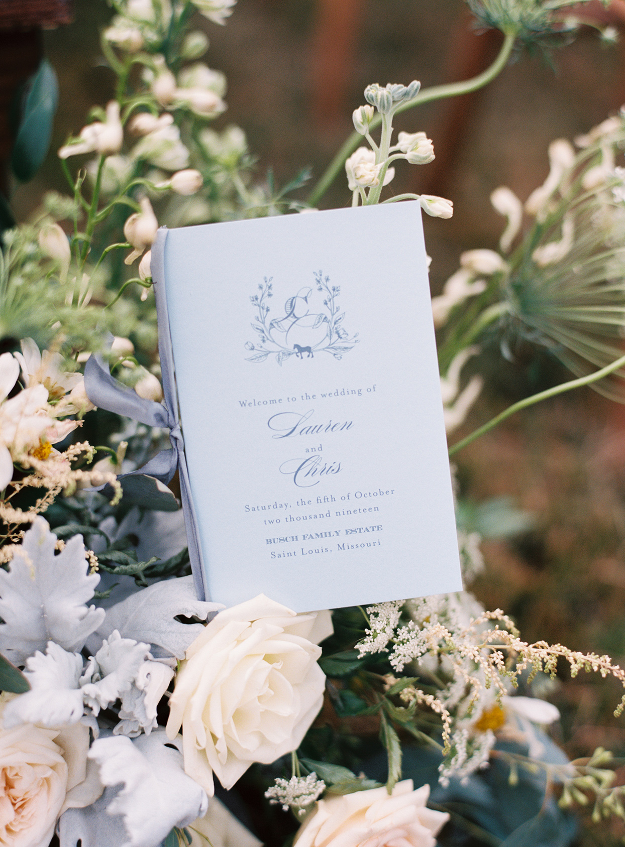 lauren chris wedding pastel blue ceremony program
