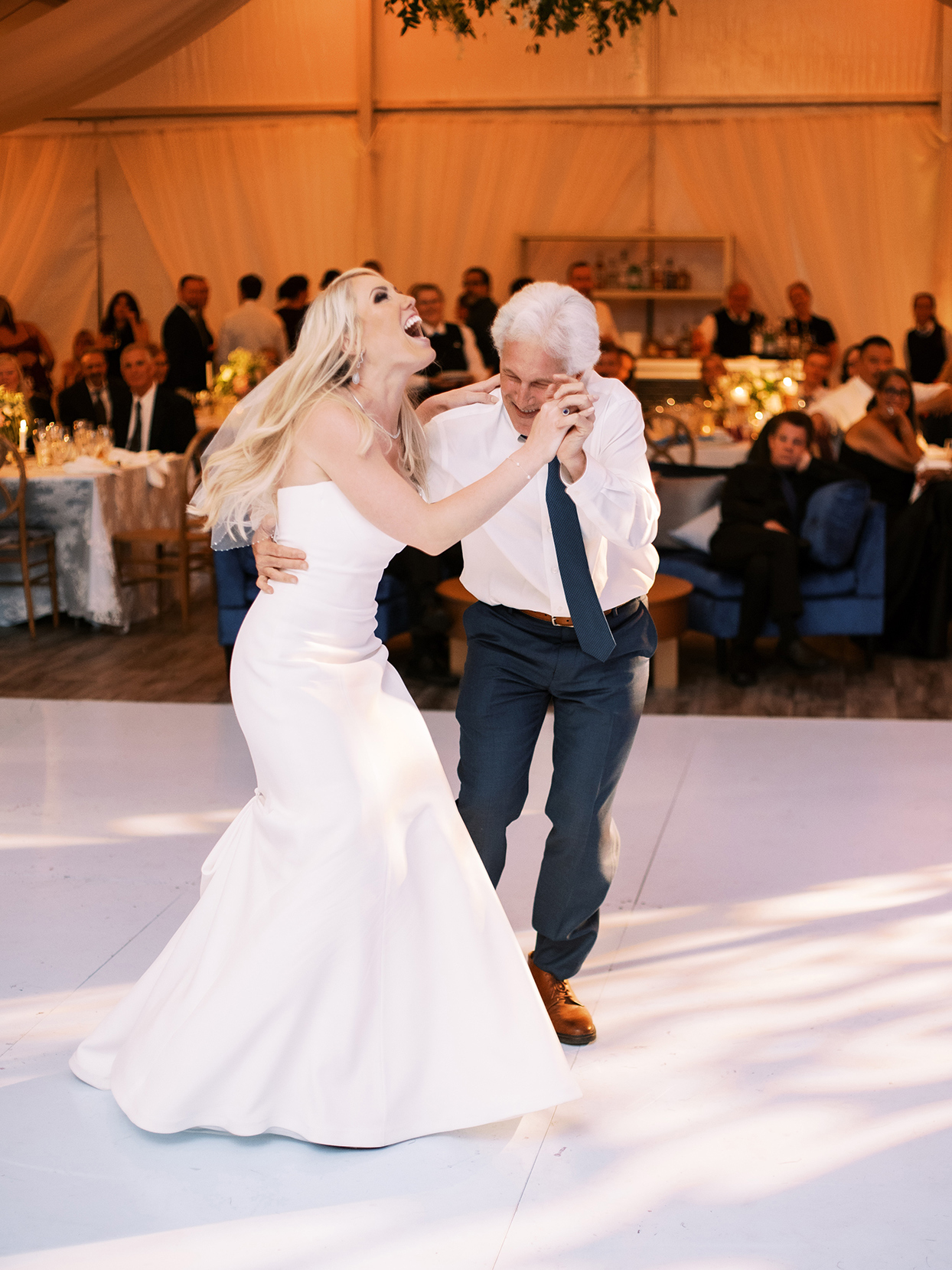 lauren chris wedding bride and father dancing and laughing