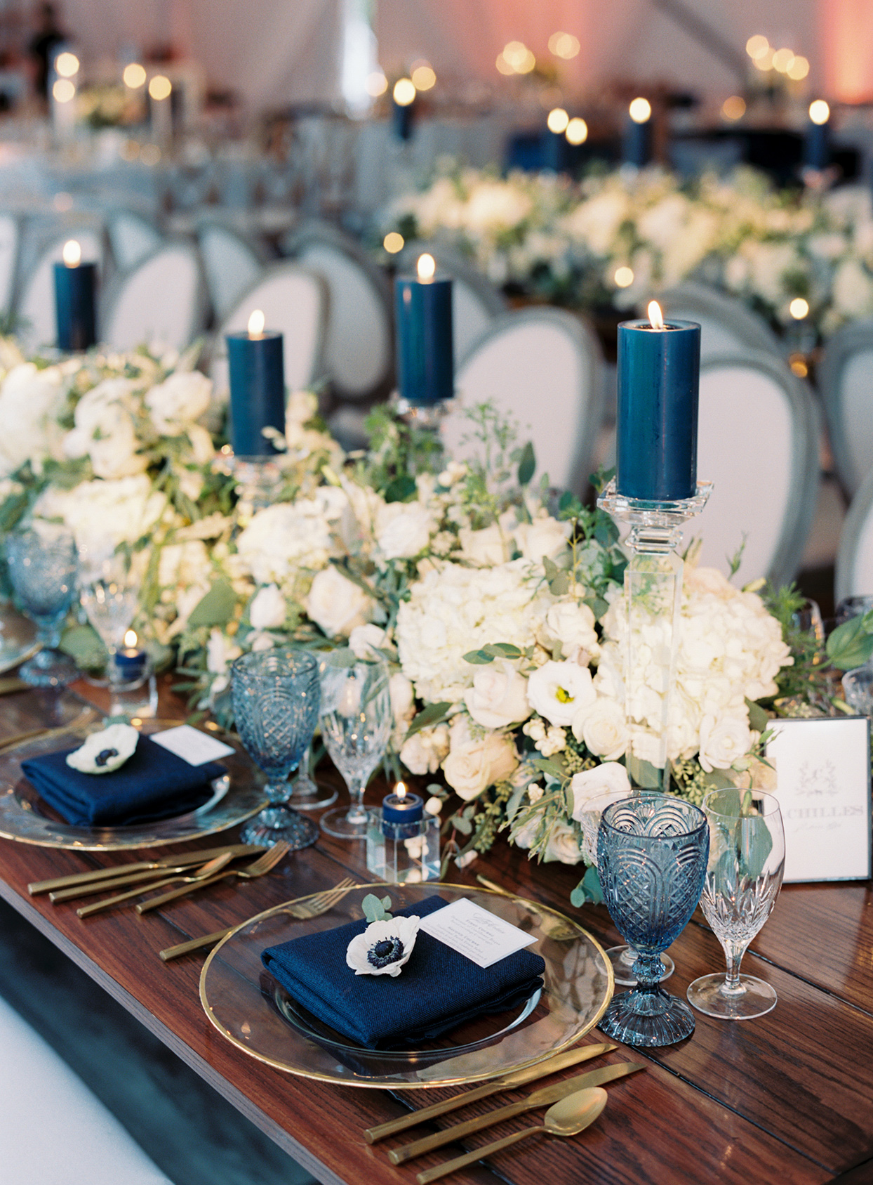 lauren chris wedding rustic blue and gold head table