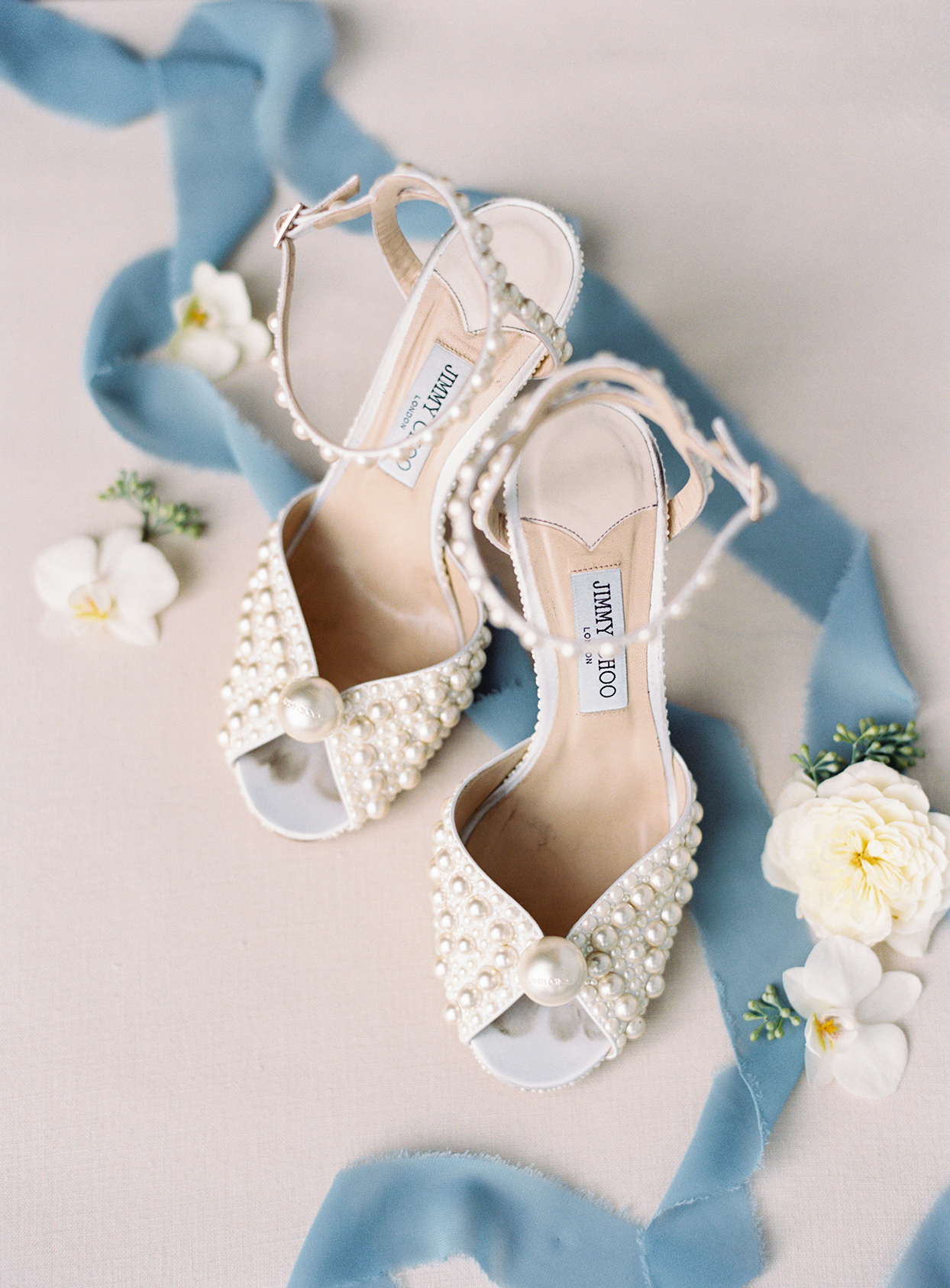 lauren chris wedding bride's pearl decorated shoes