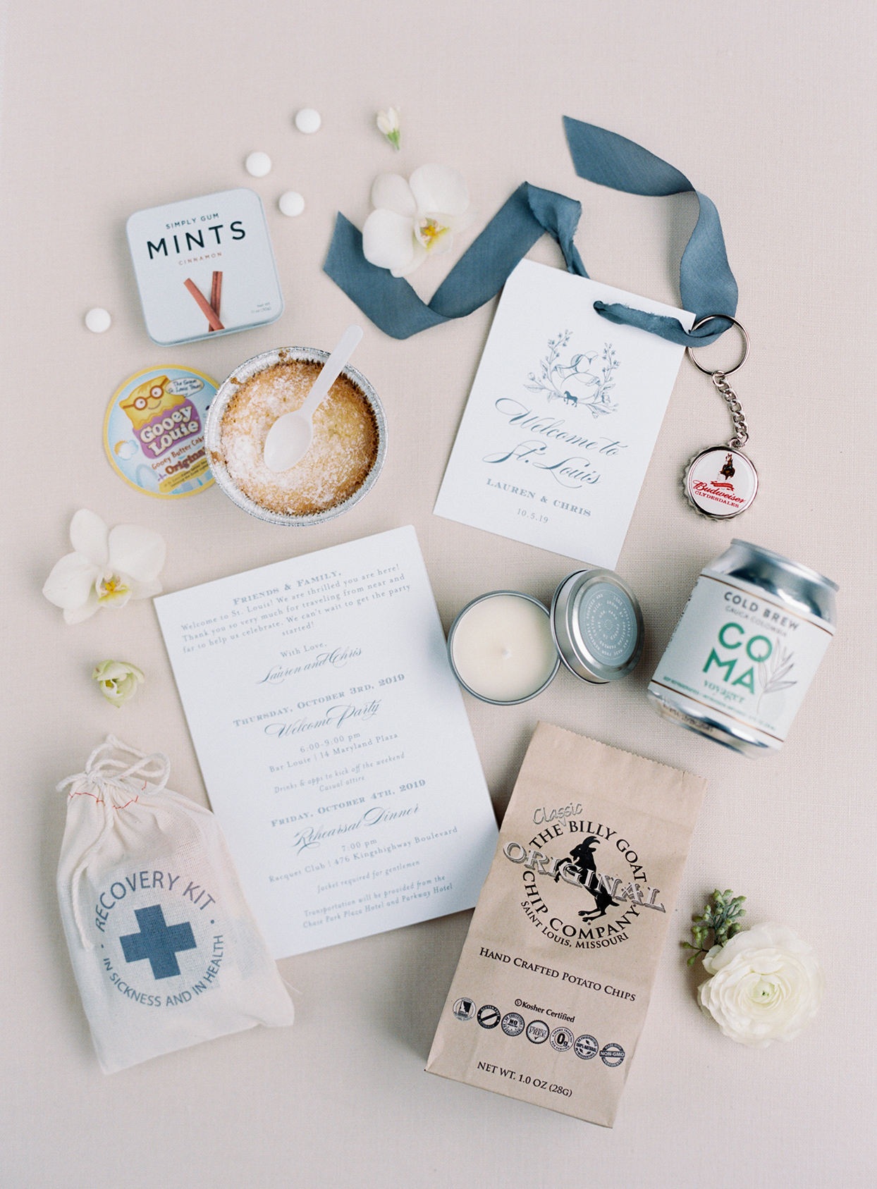 lauren chris wedding welcome bag local saint louis items