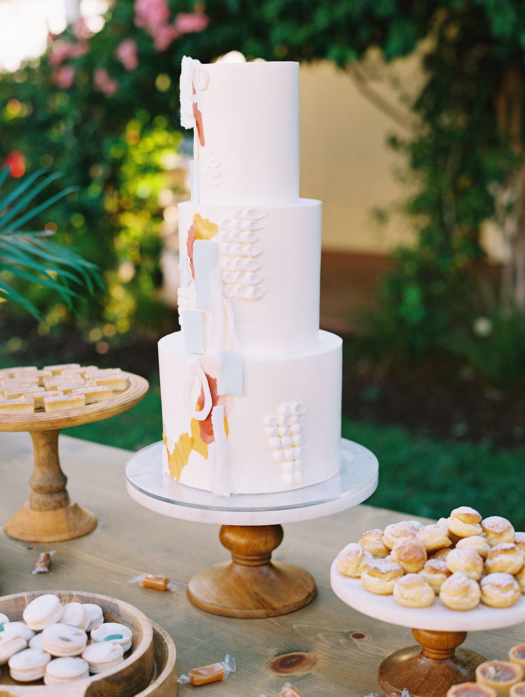 three tiered modern wedding cake